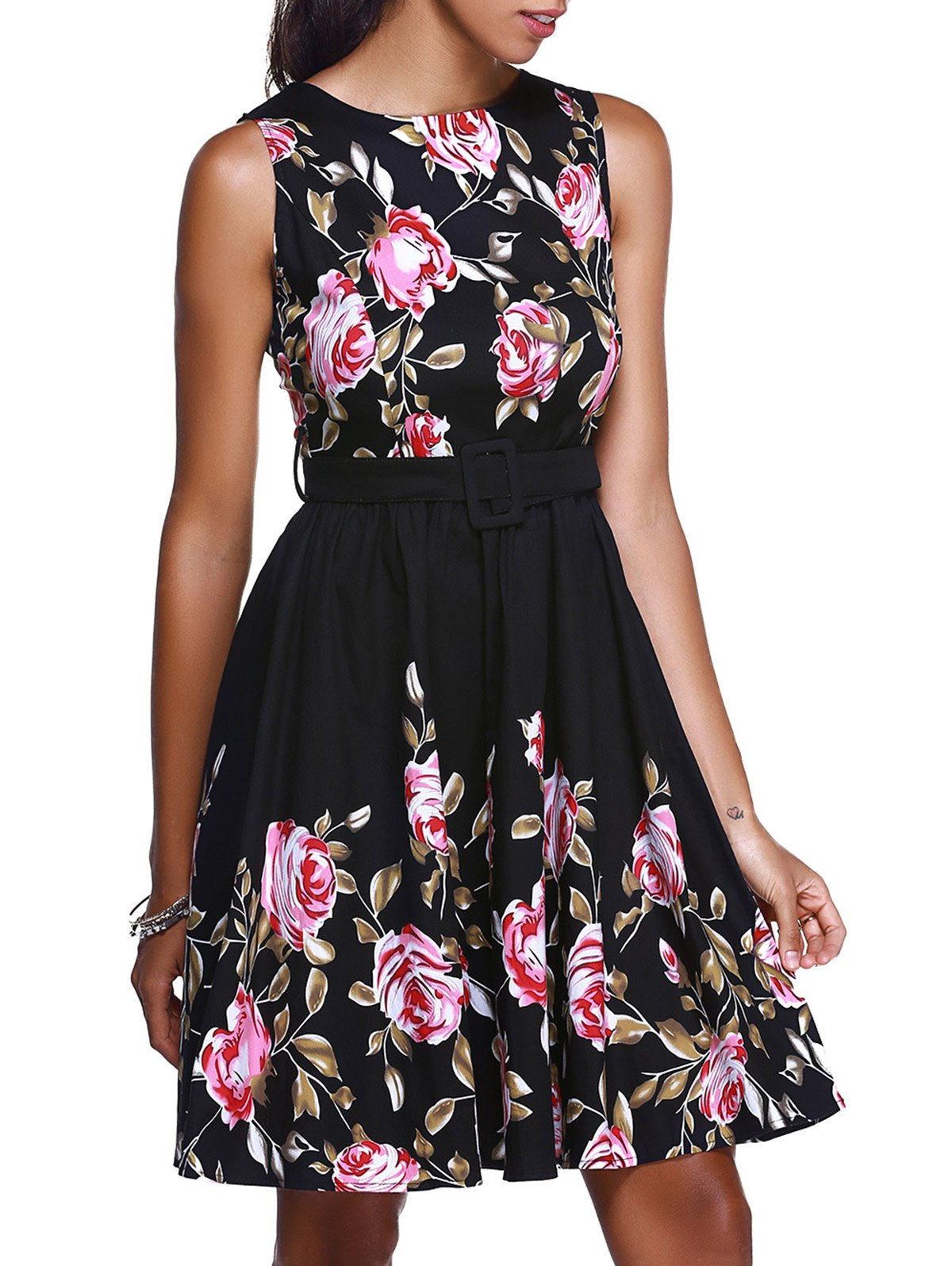 Vintage Women's Round Neck Floral Print High Waisted Midi Dress