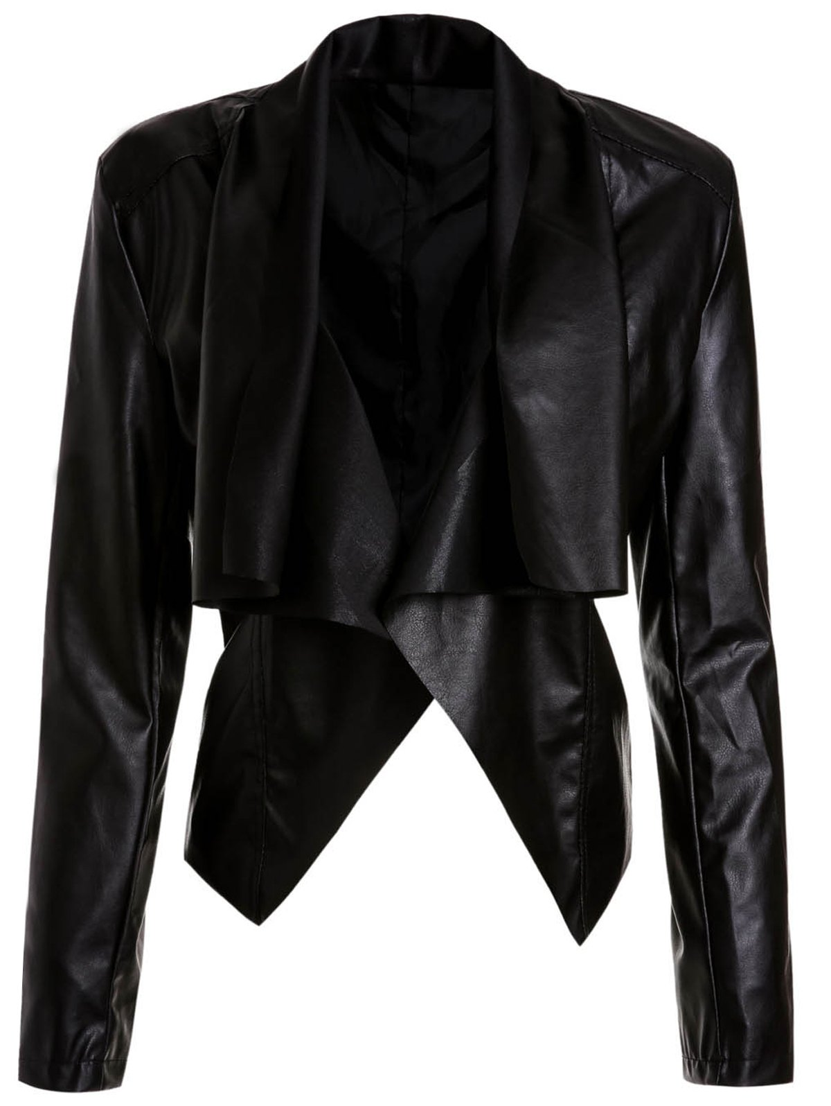 Stylish Long Sleeve Asymmetrical Solid Color Womens JacketWomen<br><br><br>Size: M<br>Color: BLACK