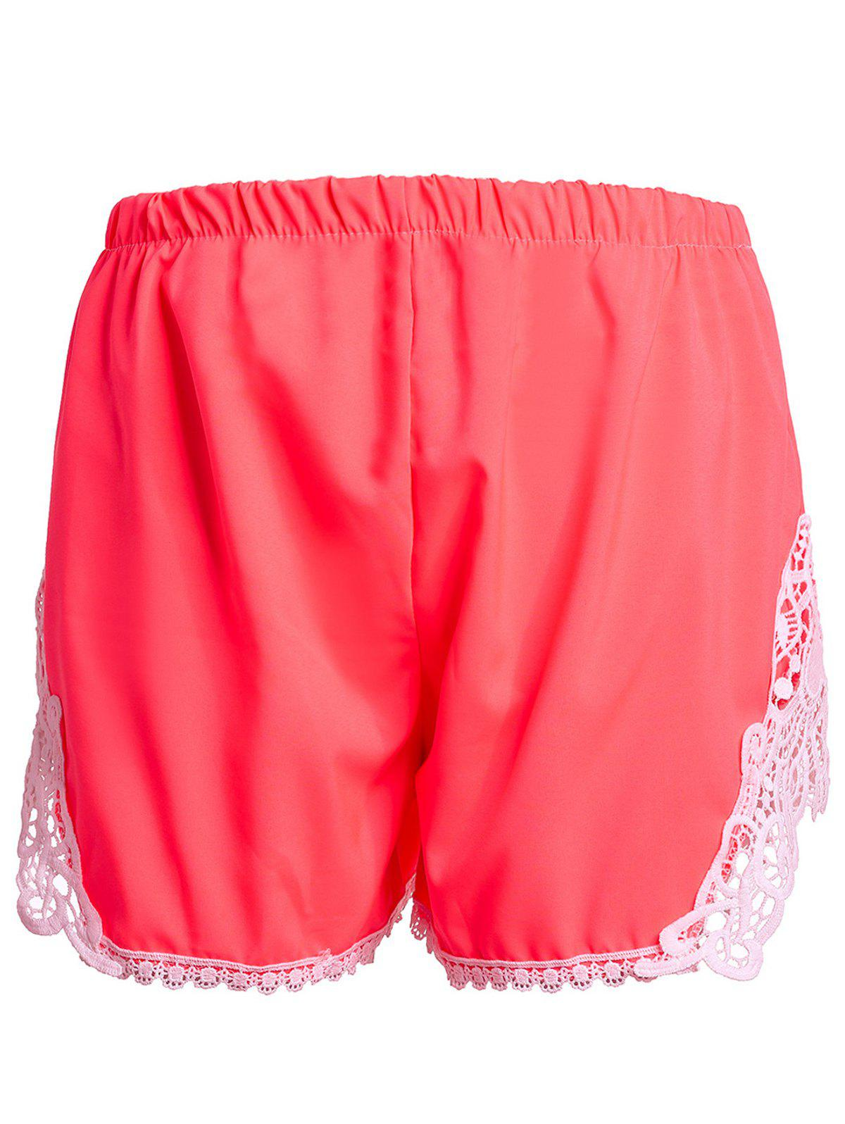 Sweet Laced Elastic Waist Shorts For Women - PINK S