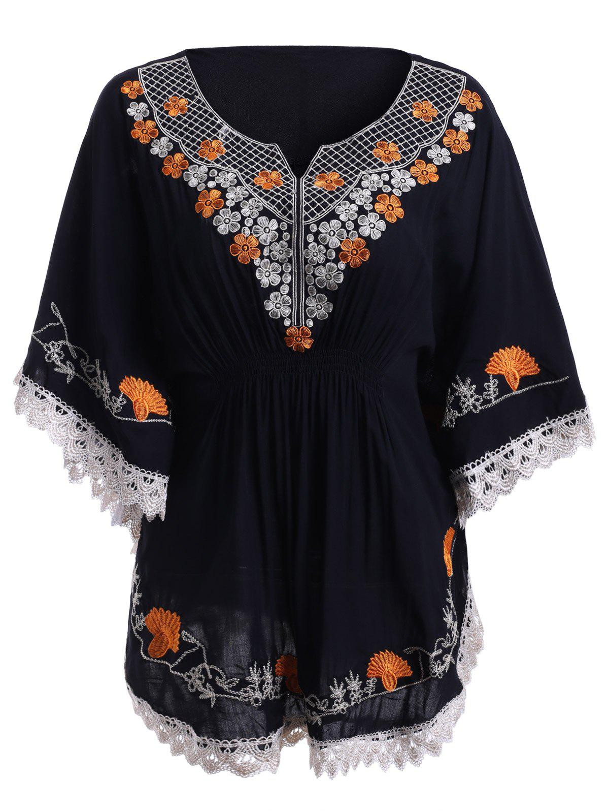 Bohemian Embroidery Batwing Sleeves Sweetheart Neck Blouse For Women - BLACK ONE SIZE(FIT SIZE XS TO M)
