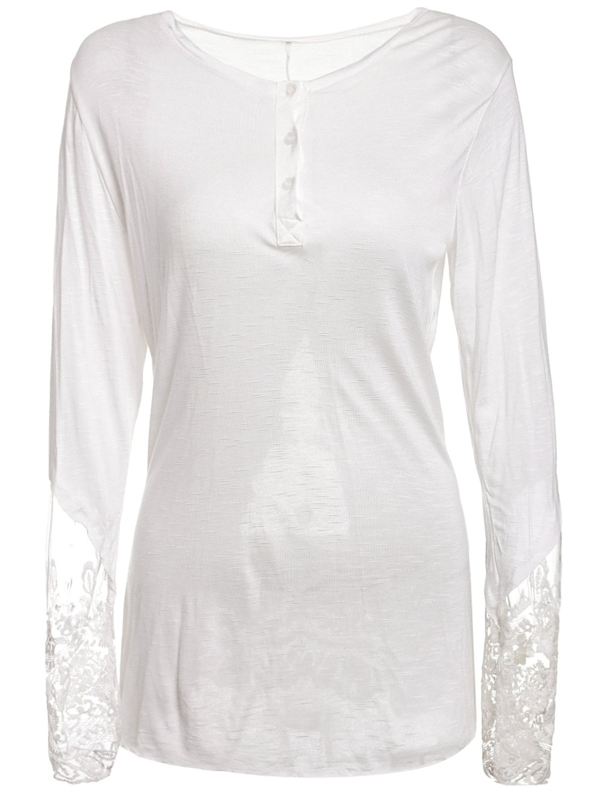 Stylish Scoop Collar Long Sleeve See-Through Solid Color Women's T-Shirt - WHITE L