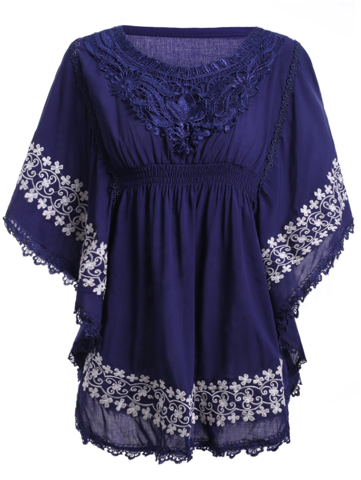 Ethnic Style Women's Round Neck Embroidery Lace Batwing Sleeve Blouse - PURPLISH BLUE ONE SIZE(FIT SIZE XS TO M)