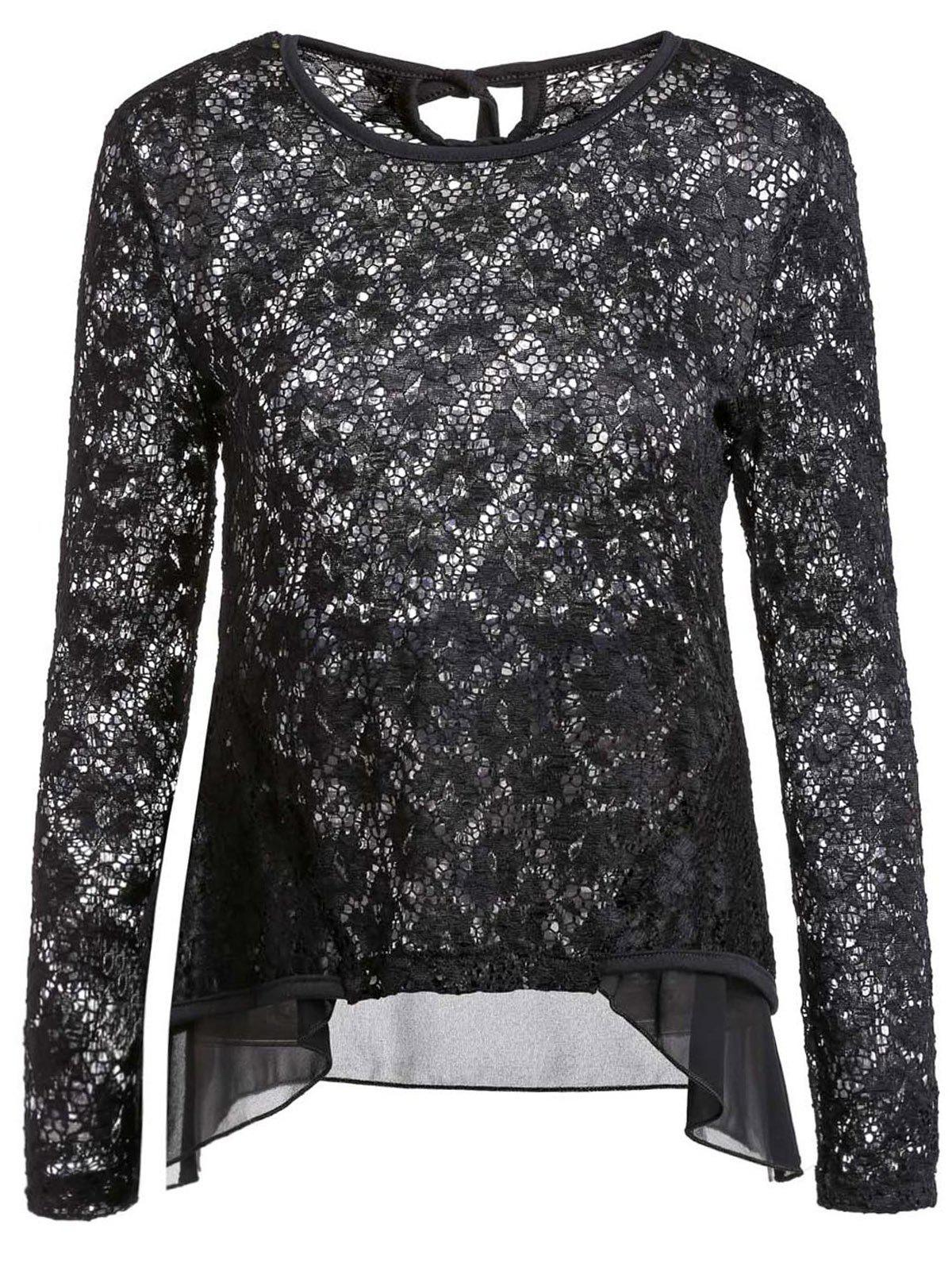 Sexy Long Sleeve Scoop Neck Lace Ruffled Blouse For Women - BLACK L
