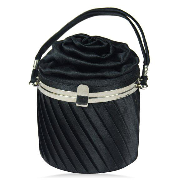 Trendy Black Color and Hasp Design Women's Evening Bag - BLACK
