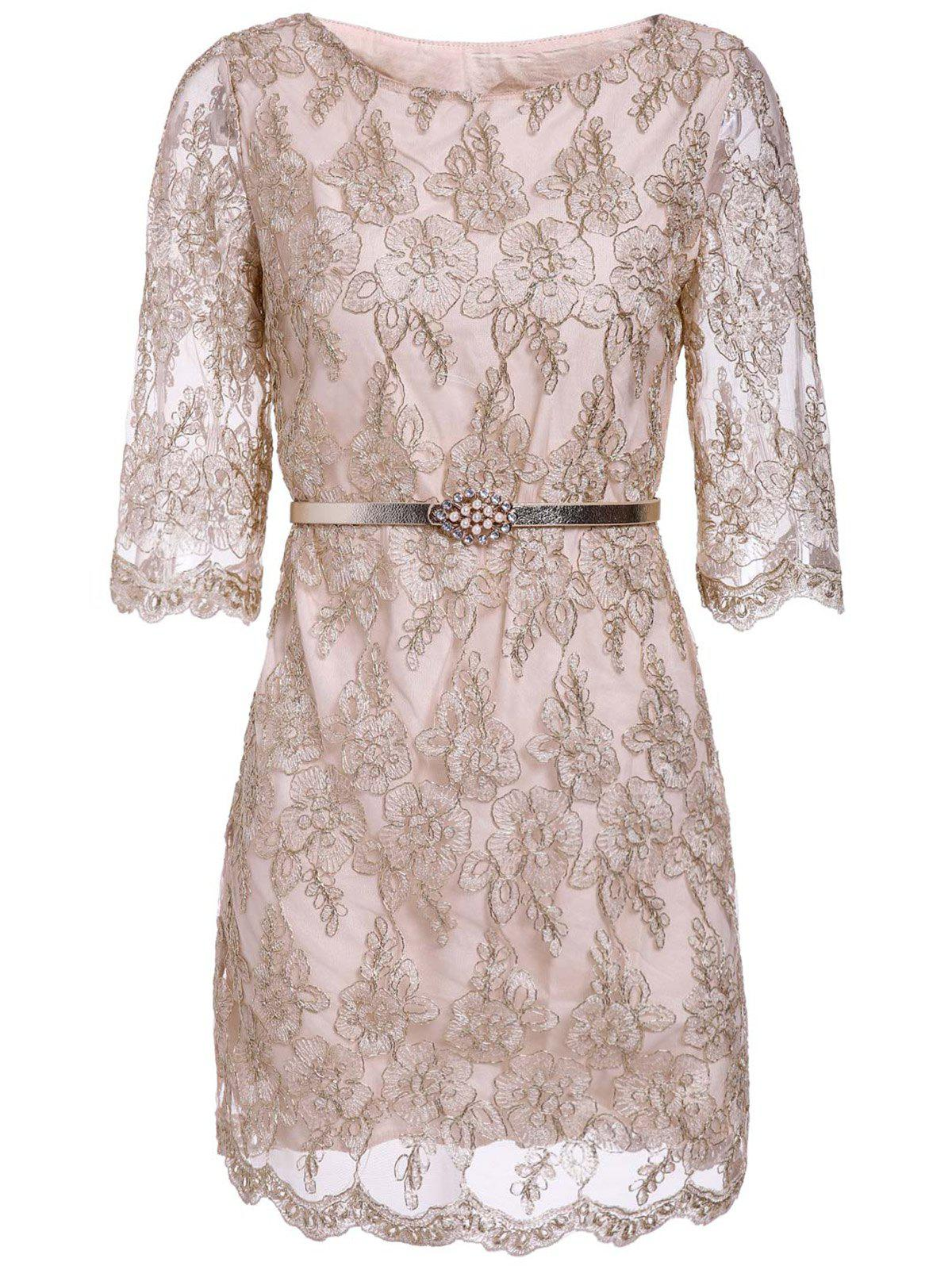 Women's Graceful Gold Thread Embroidery Lacework Design Lace Dress With A Belt - APRICOT M