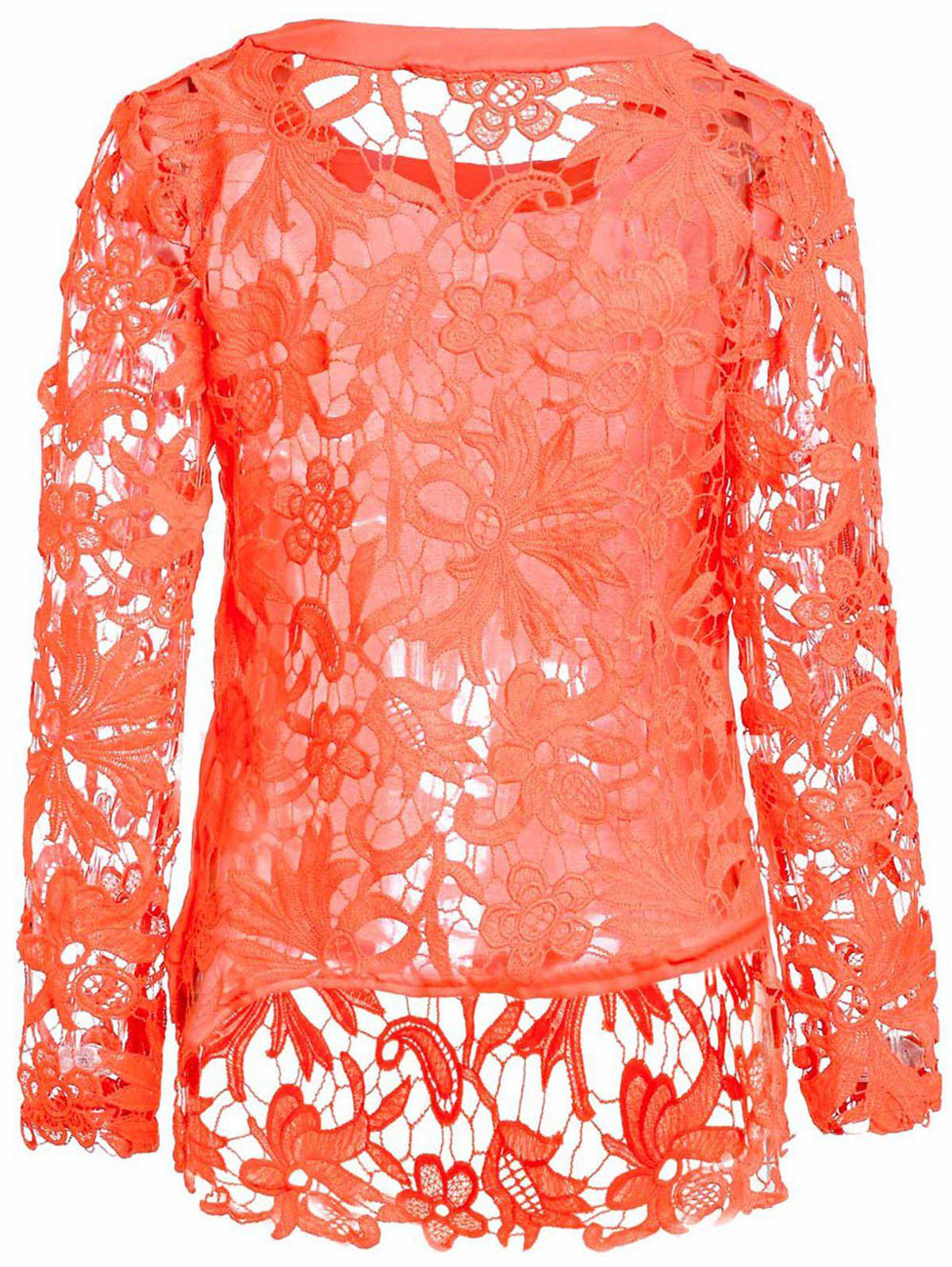Stylish Round Collar Long Sleeve Hollow Out Solid Color Women's Blouse - ORANGE L