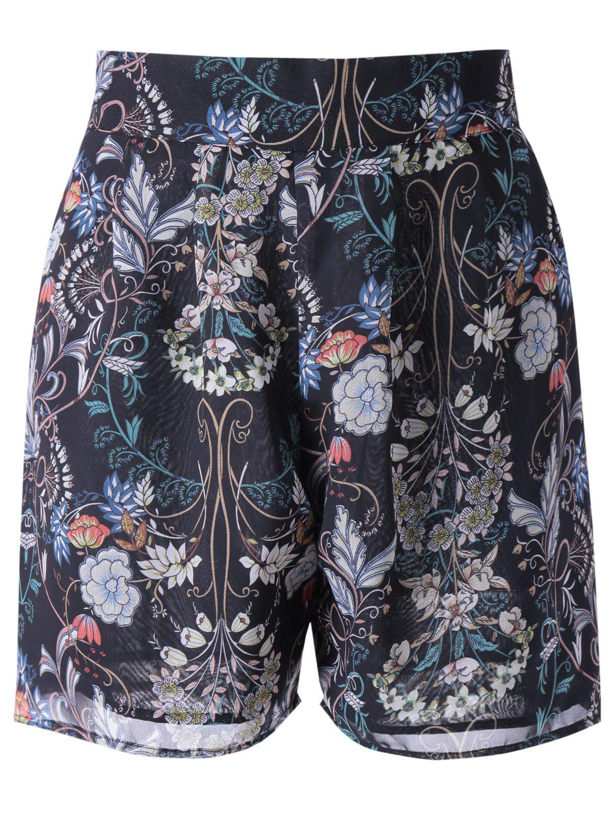 Fashionable Women's Loose-Fitting High Rise Floral Print Shorts - BLACK XL