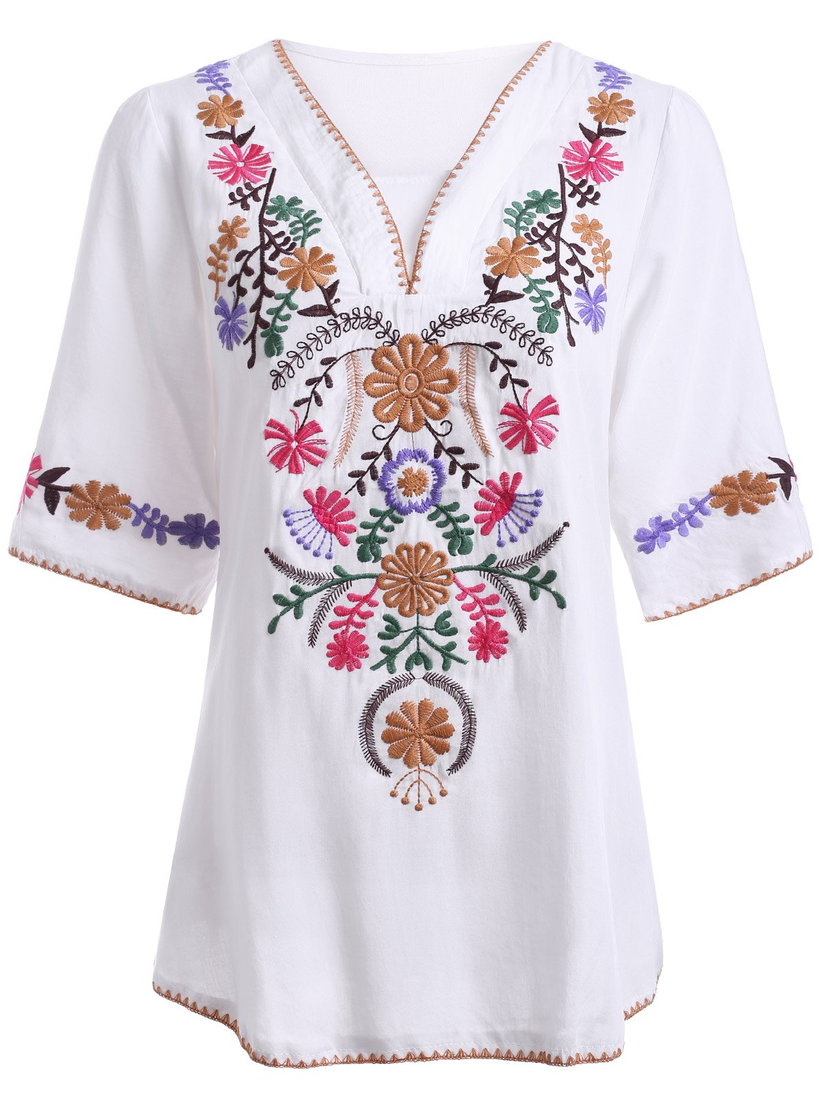 Ethnic Style Women's V Neck Embroidery 3/4 Sleeve Blouse - WHITE ONE SIZE(FIT SIZE XS TO M)
