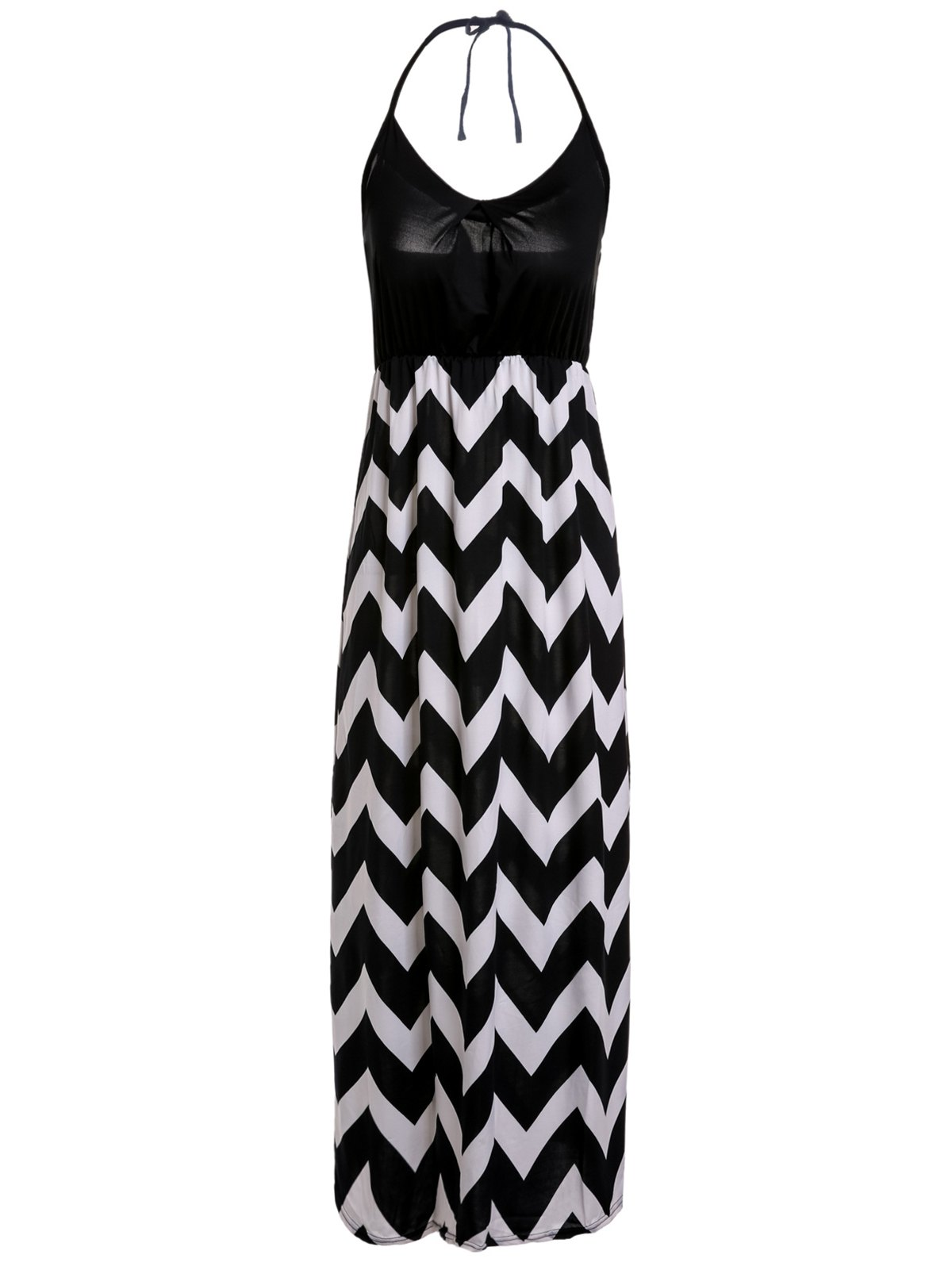 Stylish Women's Spaghetti Strap Zig Zag Maxi Dress - BLACK XL