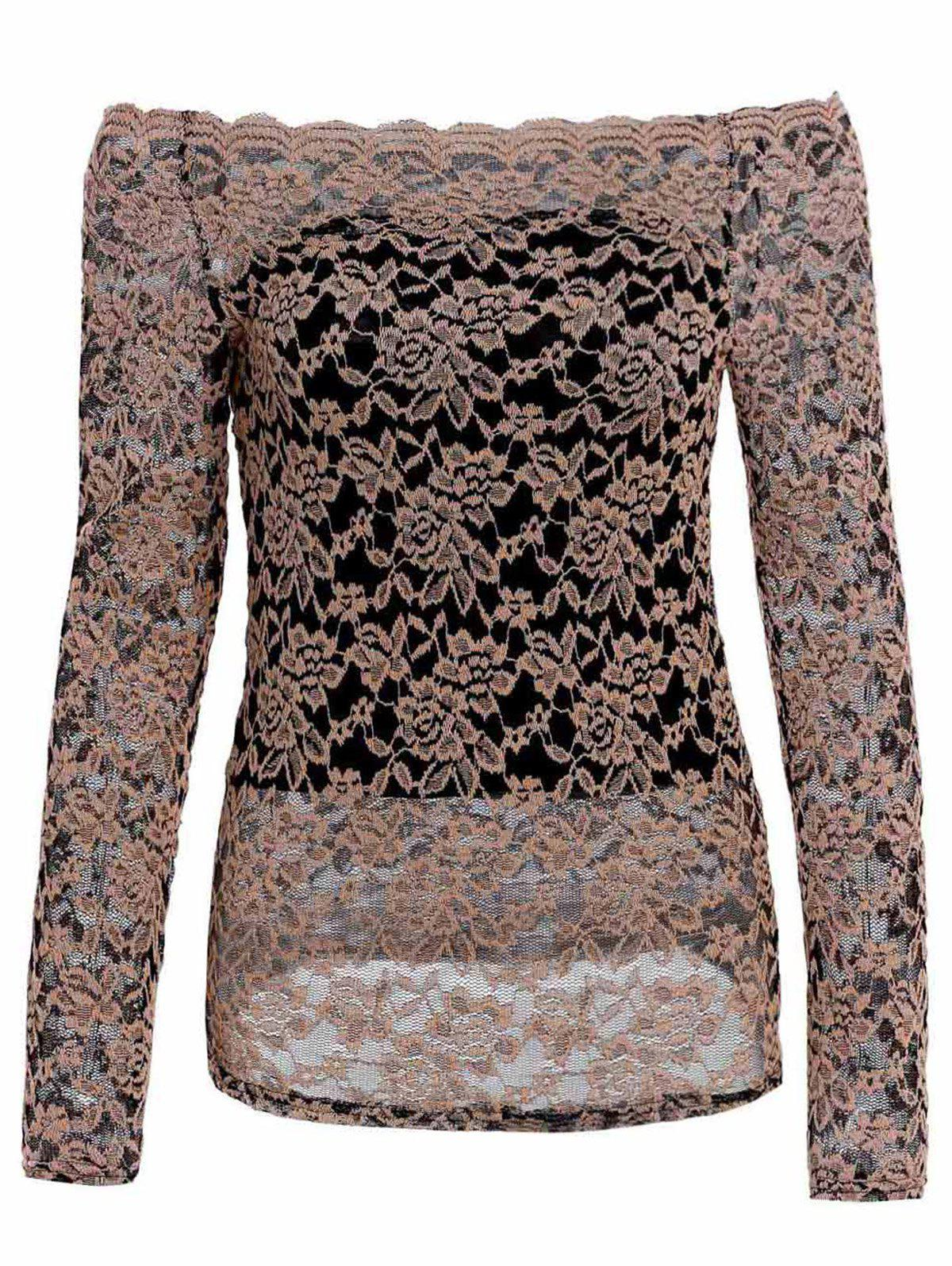 Fashionable Long Sleeve Slash Neck Hollow Out Design Lace T-shirt - APRICOT XL