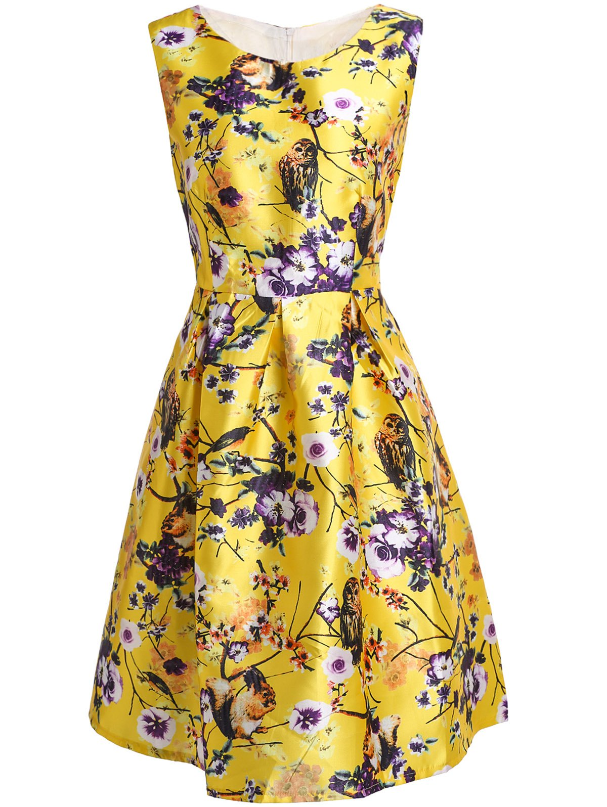 Stylish Flower and Birds Print Slash Neck Sleeveless Dress For Women