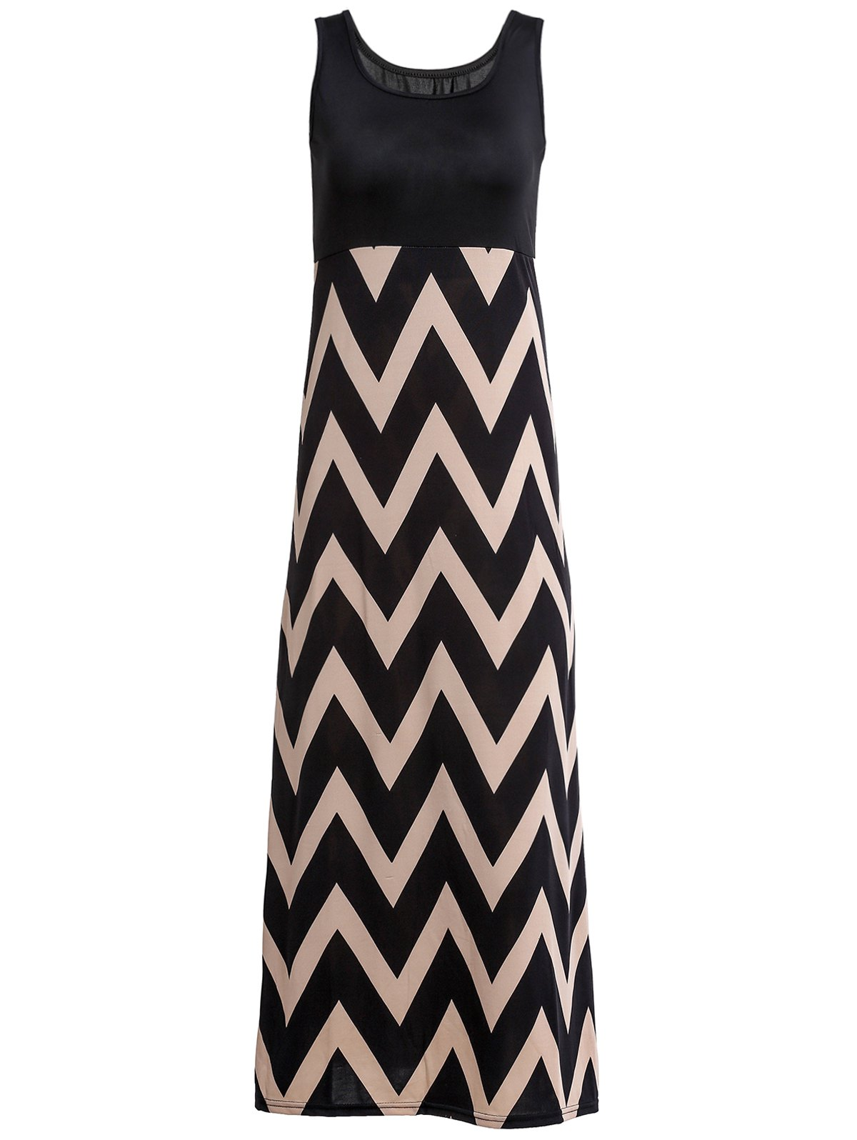 Stylish Women's Scoop Neck Sleeveless Zig Zag Maxi Dress - BLACK M