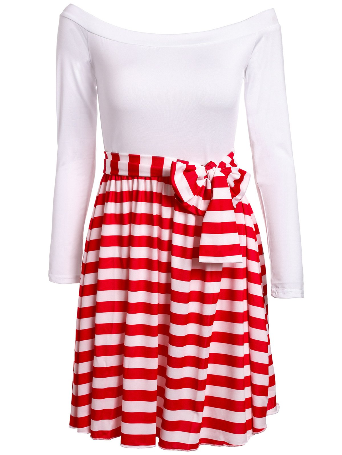 Sexy Slash Collar 1/2 Sleeve Striped Spliced Women's Dress - RED/WHITE M