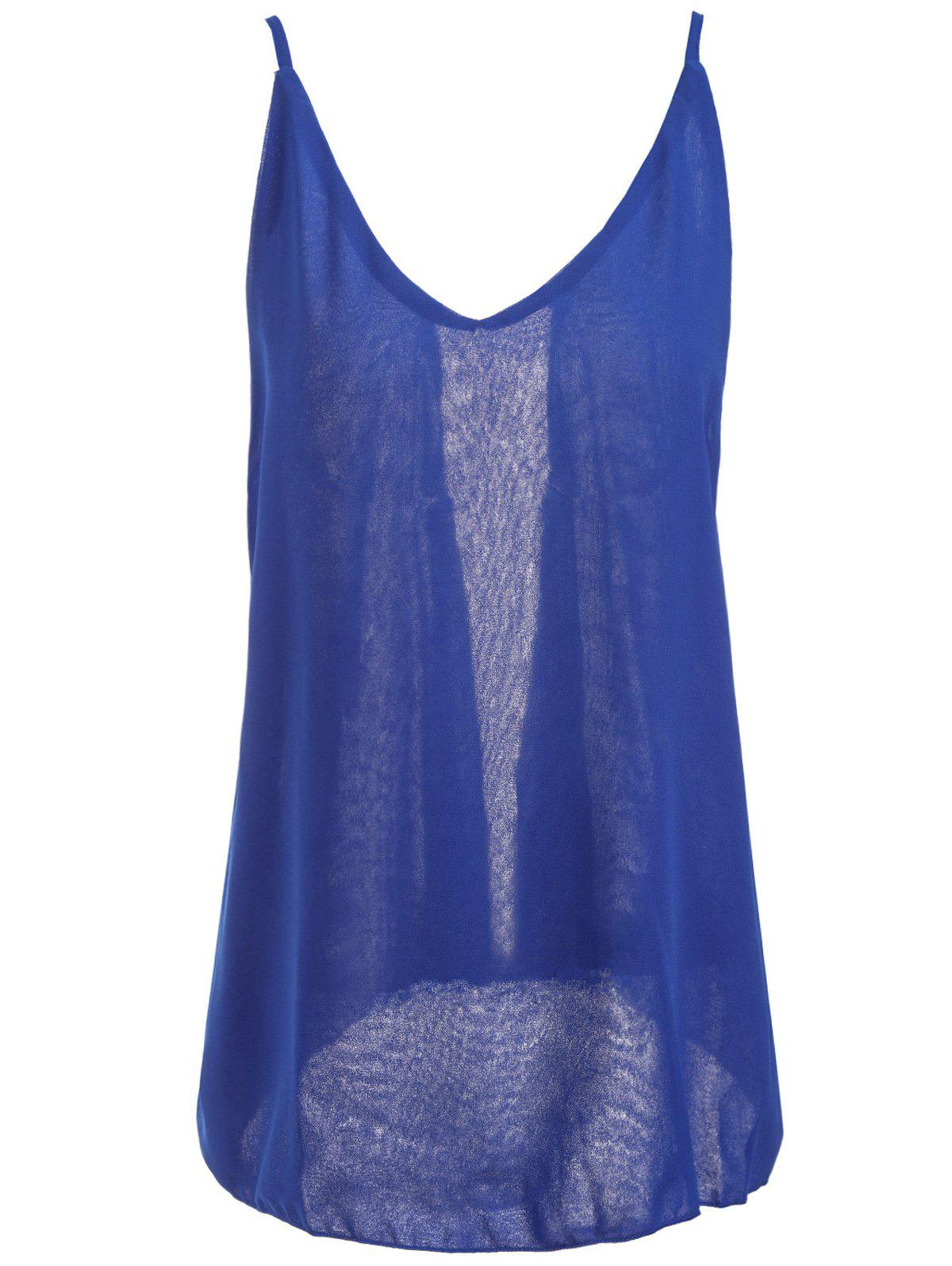 Fashionable Spaghetti Strap Solid Color Chiffon Backless Women's Tank Top - BLUE 2XL