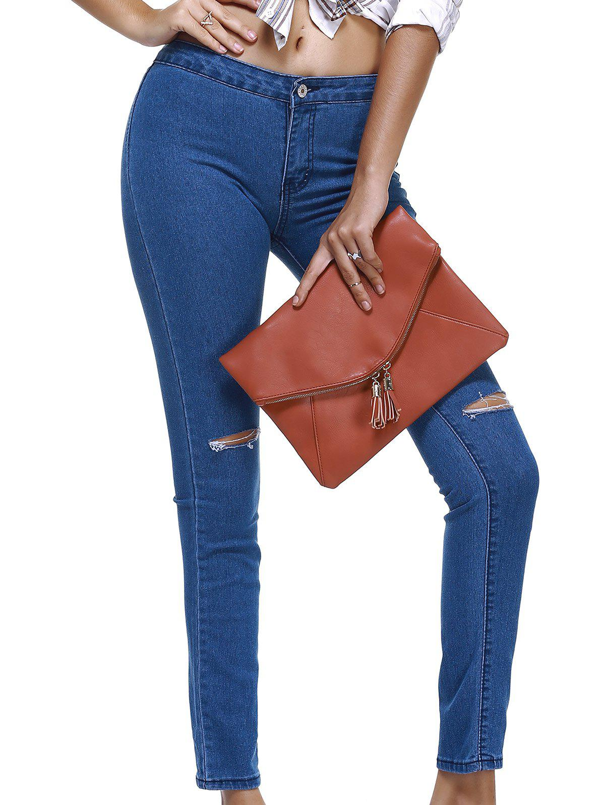 Mid taille Ripped femmes Skinny  's Jeans - Bleu L