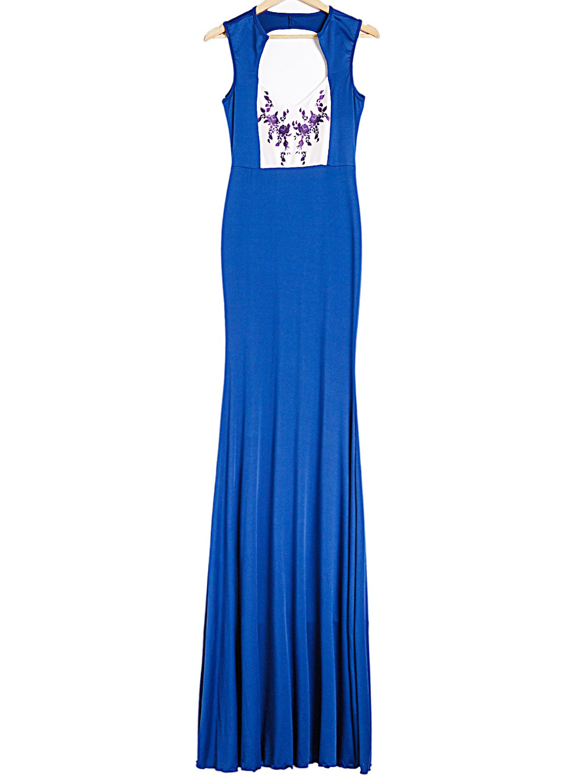 Plunging Neck Sleeveless Spliced Printed Backless Women's Dress