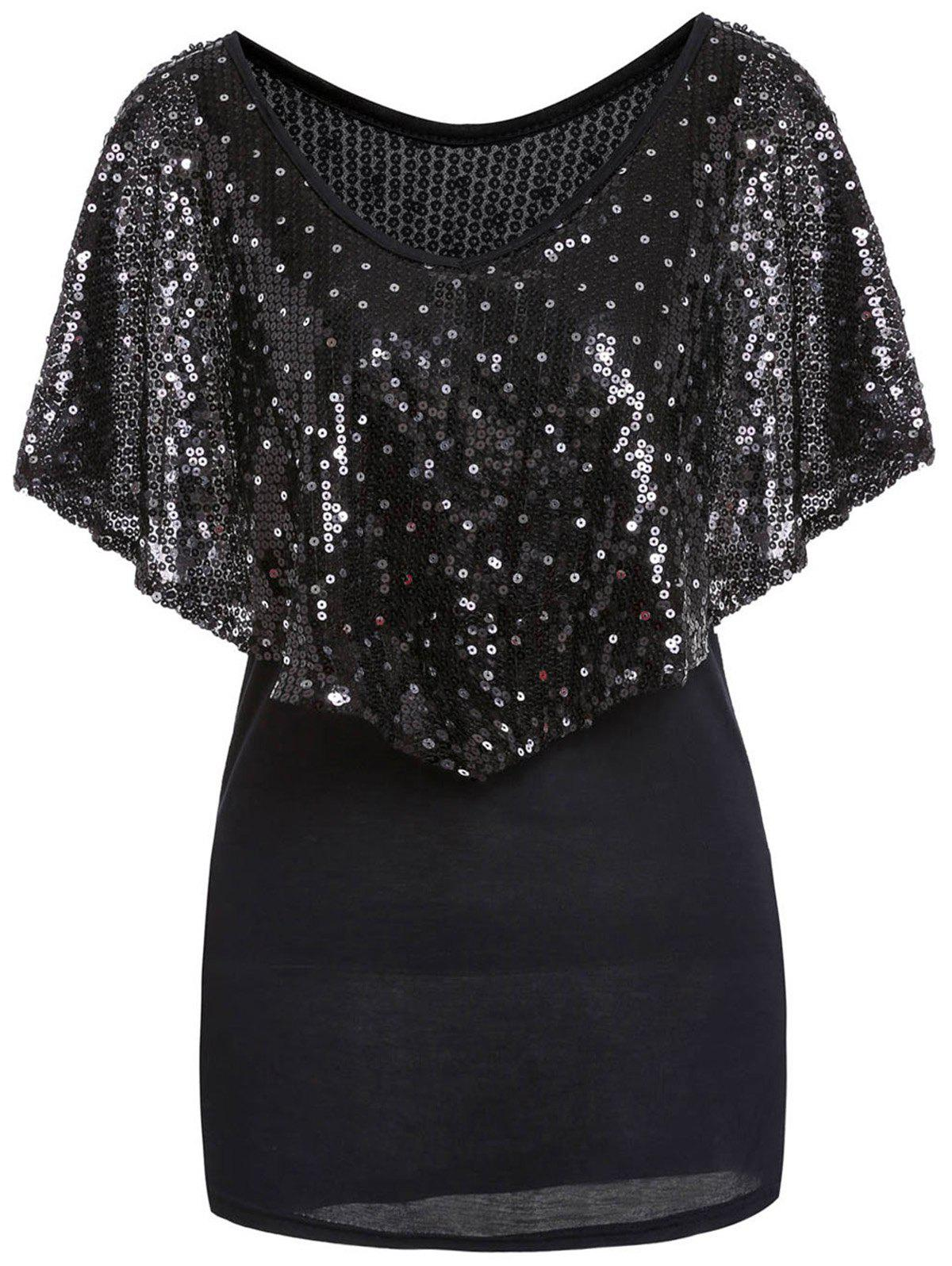 Fashionable V-Neck Sequins Embellished Short Sleeve T-Shirt For Women