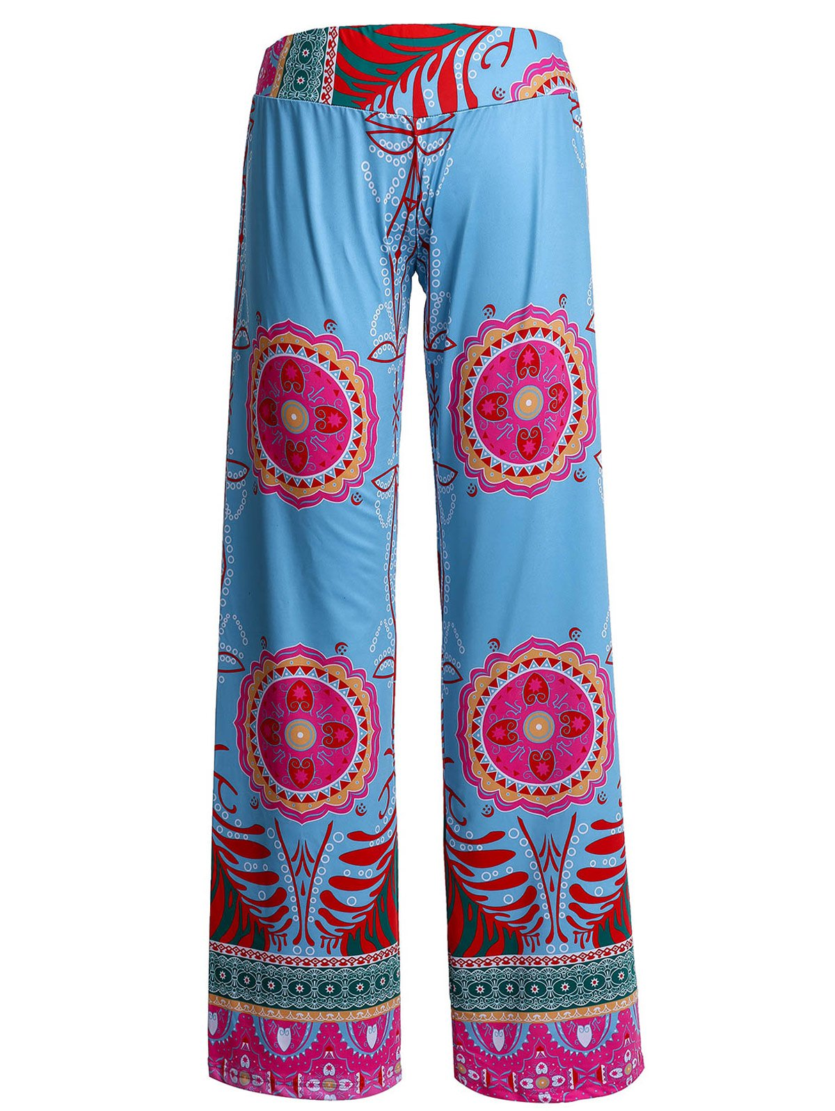 Casual Women's Print Wide-Leg Straight Pants - BLUE XL