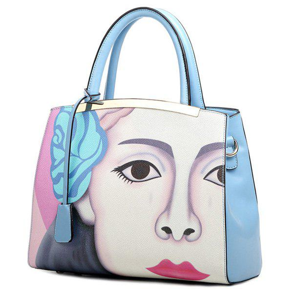 Stylish Painting and PU Leather Design Women's Tote Bag - BLUE