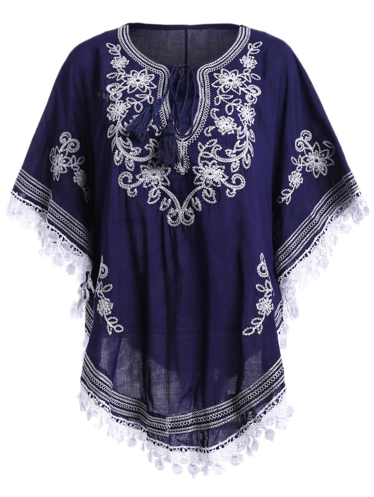 Bohemian Women's Embroidery Batwing Sleeves Blouse - PURPLISH BLUE ONE SIZE(FIT SIZE XS TO M)