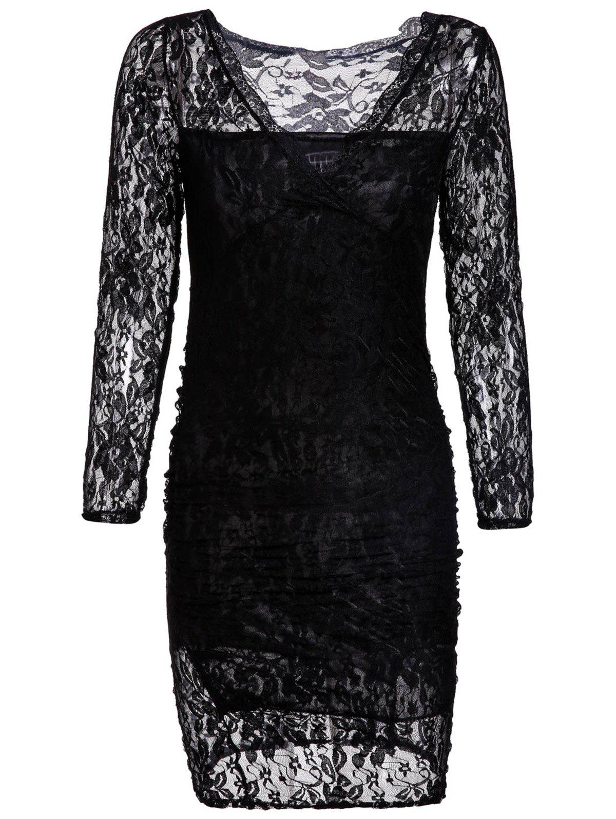 Fashionable V-Neck Long Sleeve Hollow Out Packet Buttock Lace Dress - BLACK XL