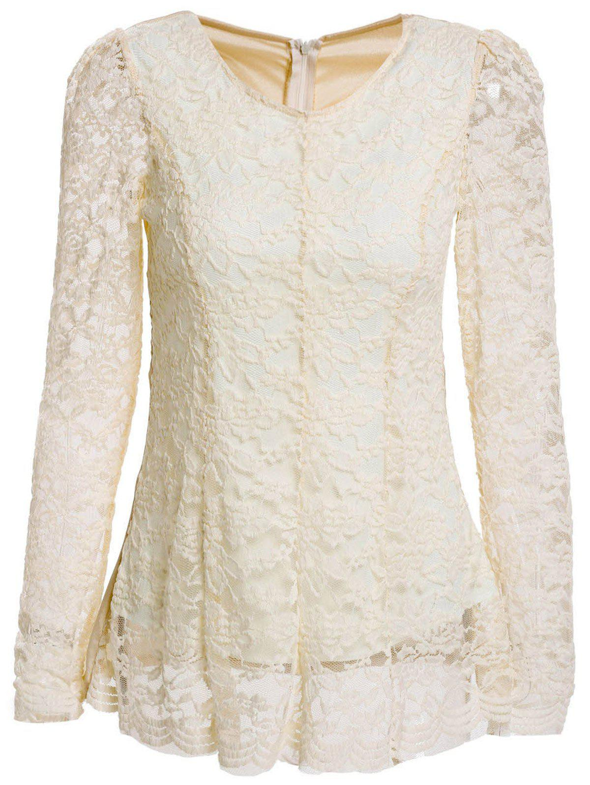 Women's Graceful Flouncing Floral Embroidery Long Sleeves Lace Blouse - APRICOT ONE SIZE