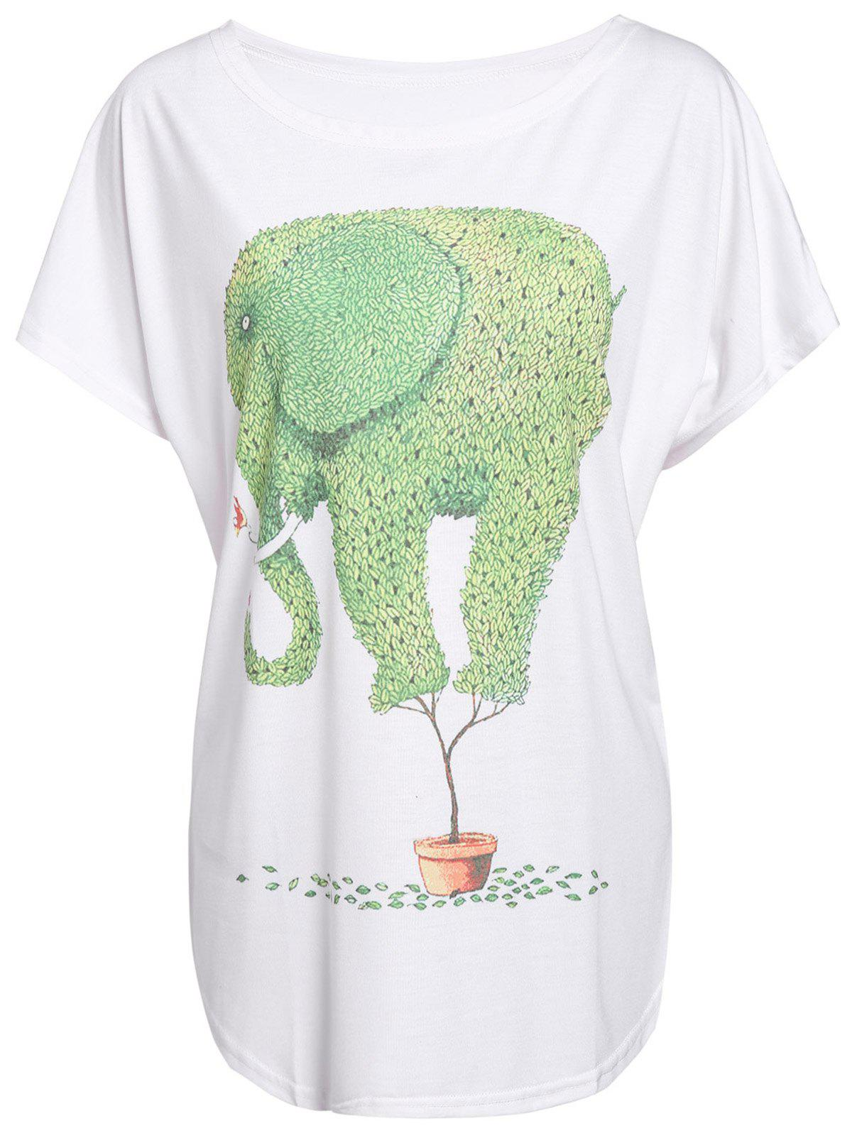 Women's Cartoon Green Elephant Print Color Block T-Shirt - WHITE ONE SIZE