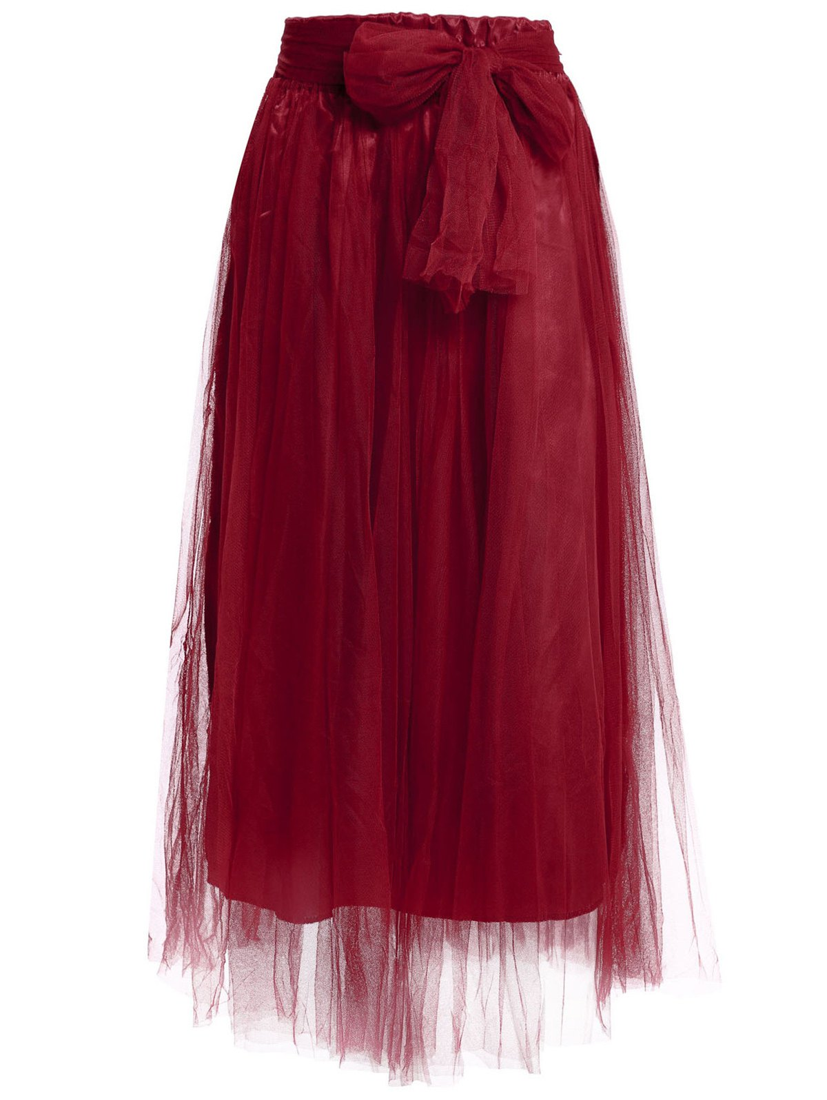 Stylish Solid Color Floor-Length High-Waisted Skirt For Women - WINE RED ONE SIZE