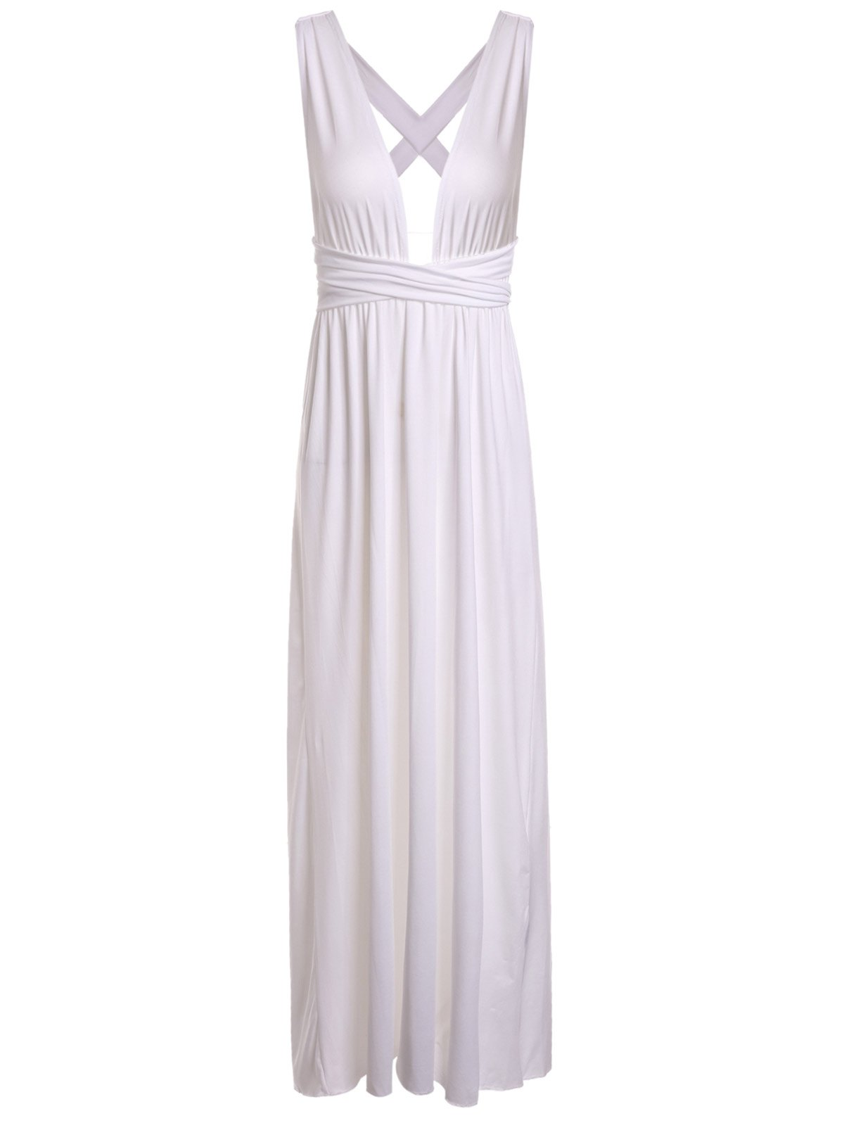 Sexy Criss-Cross Plunging Neck Candy Color Sleeveless Dress For Women - WHITE M