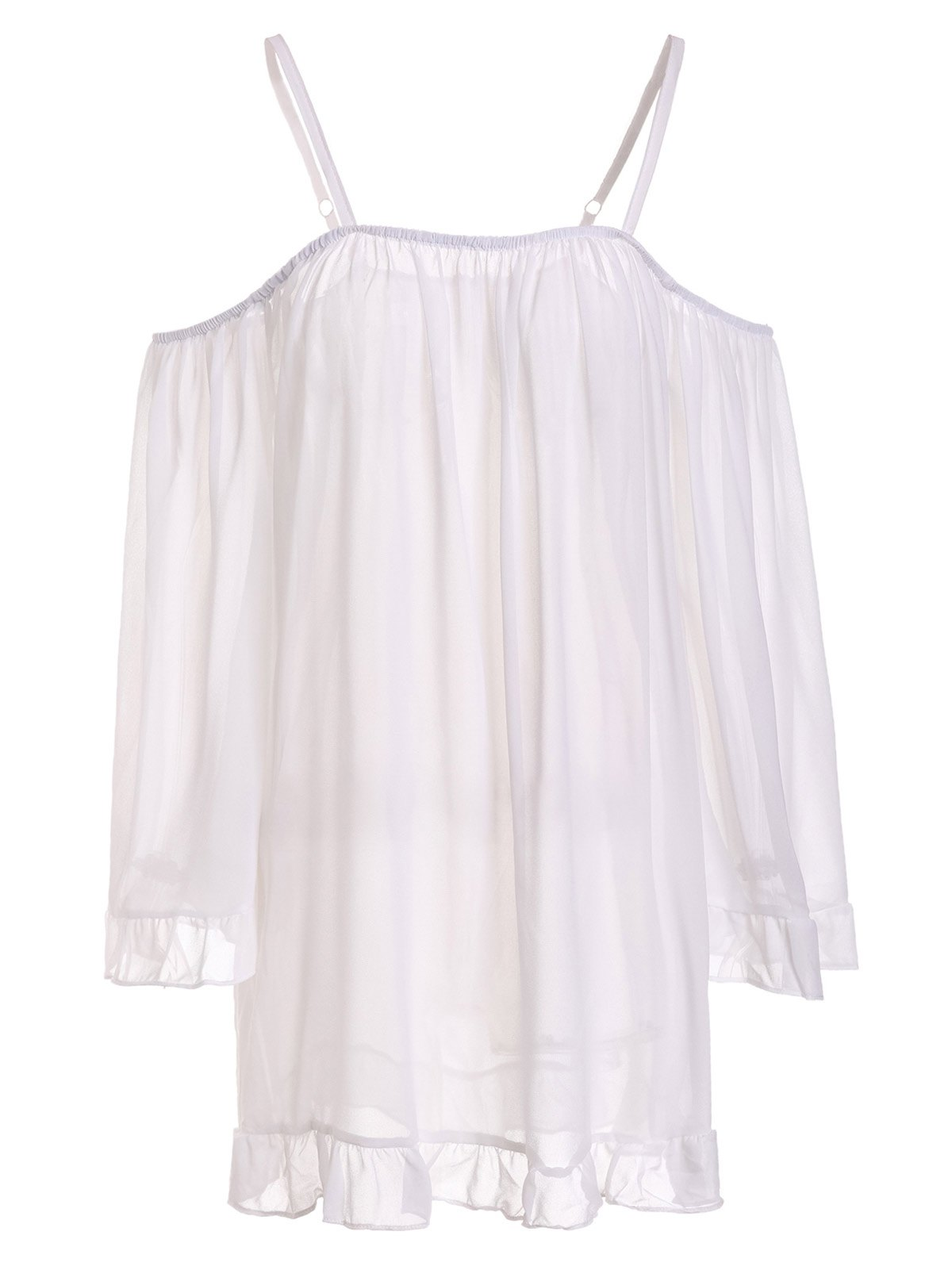 Sexy Long Sleeve Spaghetti Strap Off-The-Shoulder Women's Dress - WHITE S