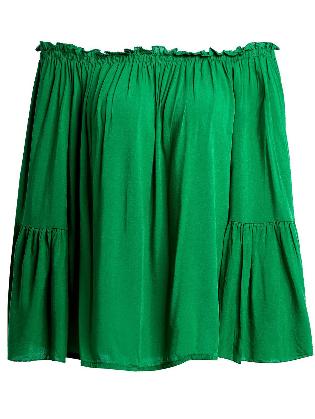 Sweet Slash Collar Butterfly Sleeve Flounced Solid Color Women's Blouse - GREEN M