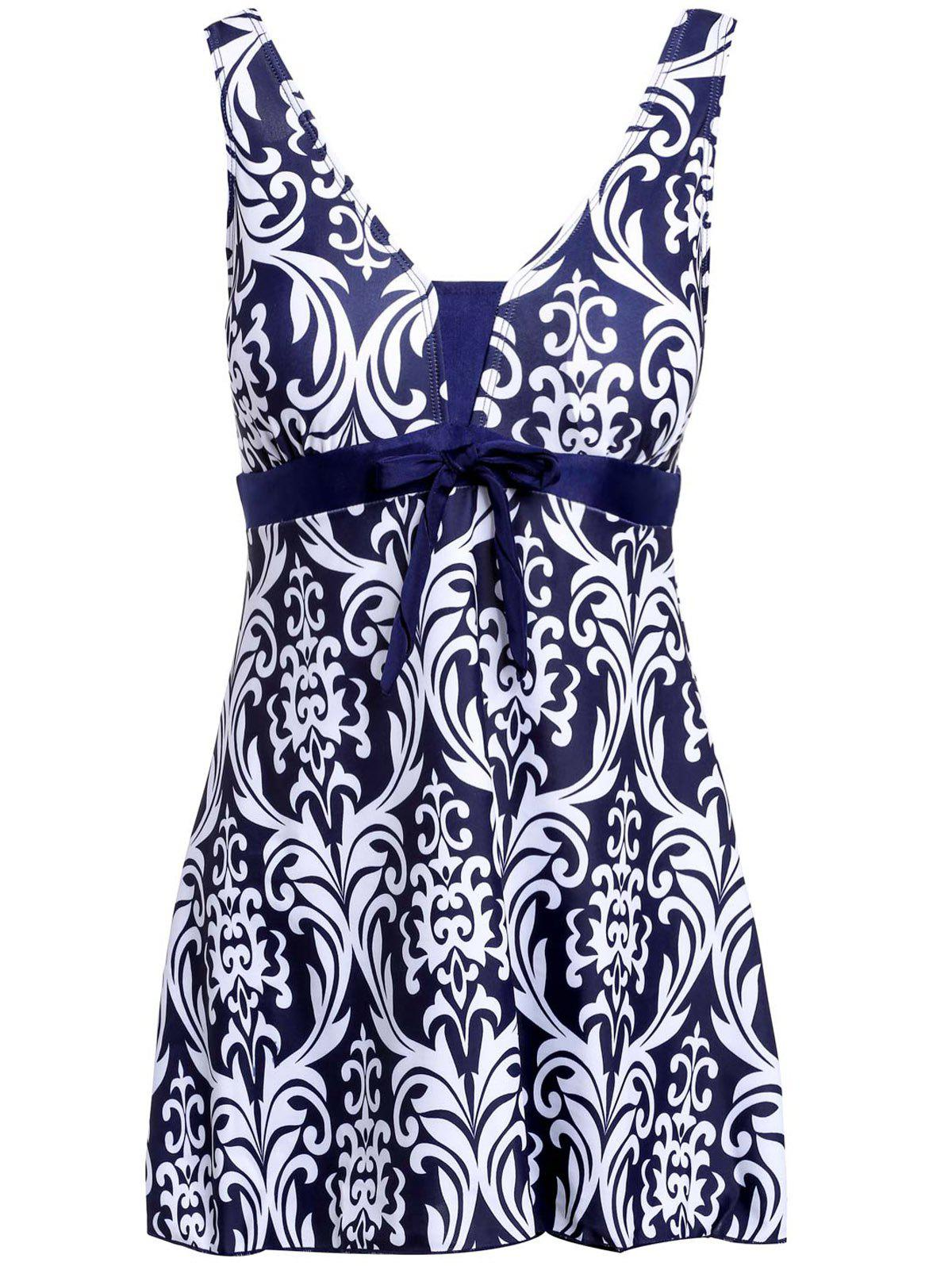 Ethnic Style Women's V-Neck Bowknot Embellished Printed One-Piece Swimsuit - WHITE XL