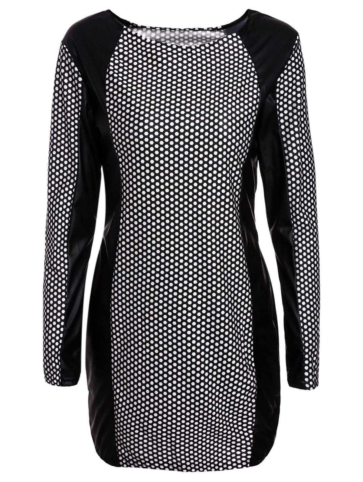 Sexy Jewel Neck PU Leather Splicing Long Sleeve Printed Dress For Women - WHITE/BLACK L