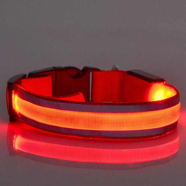 Fashion LED Luminous Outdoor Supplies Stripe Design Collar For Dogs - RED S