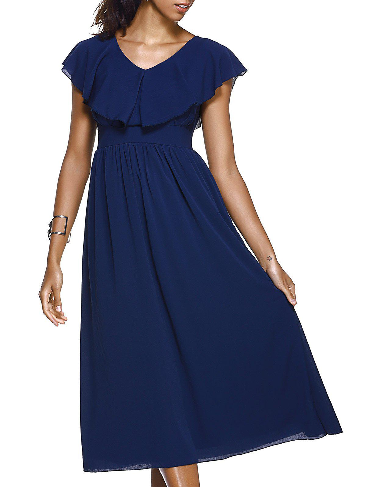 Stylish Women's V-Neck Short Sleeve Ruffled Maxi Dress