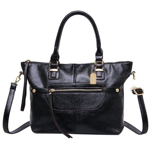 Fashionable Stitching and Zip Design Women's Tote Bag - BLACK