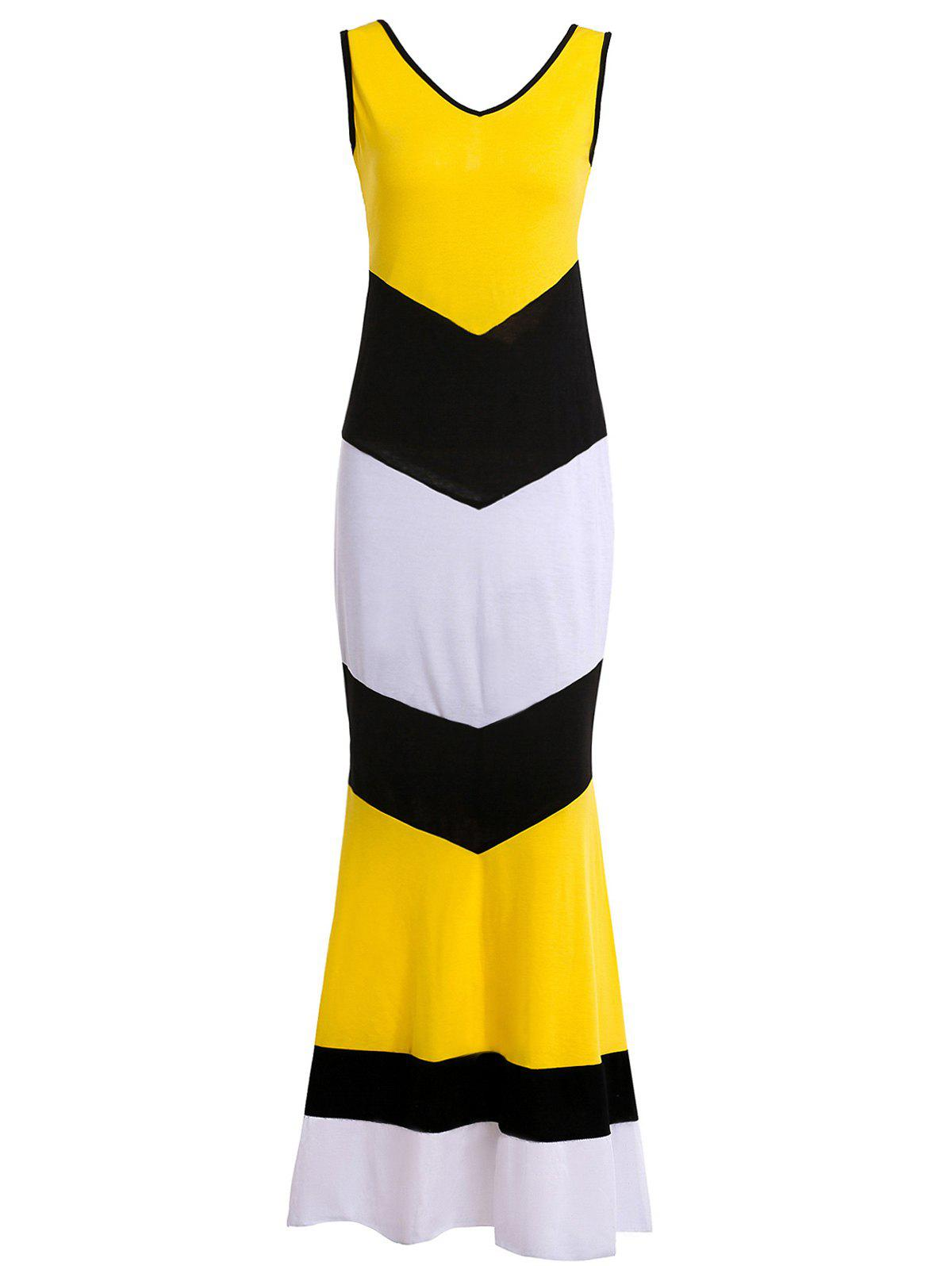 Stylish V-Neck Sleeveless Color Block Zig Zag Women's Maxi Dress - YELLOW L