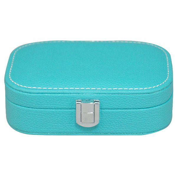 Trendy Candy Color and Hasp Design Women's Cosmetic Bag - TIFFANY BLUE