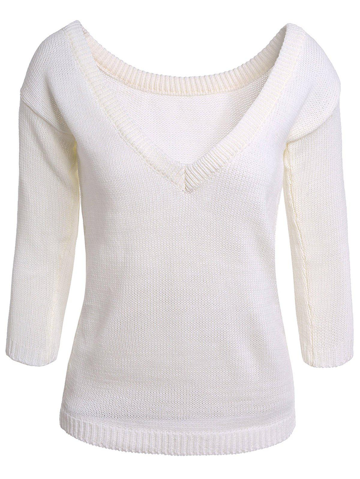 Sexy White Skew Collar Open Back Long Sleeve Sweater For Women - WHITE ONE SIZE(FIT SIZE XS TO M)