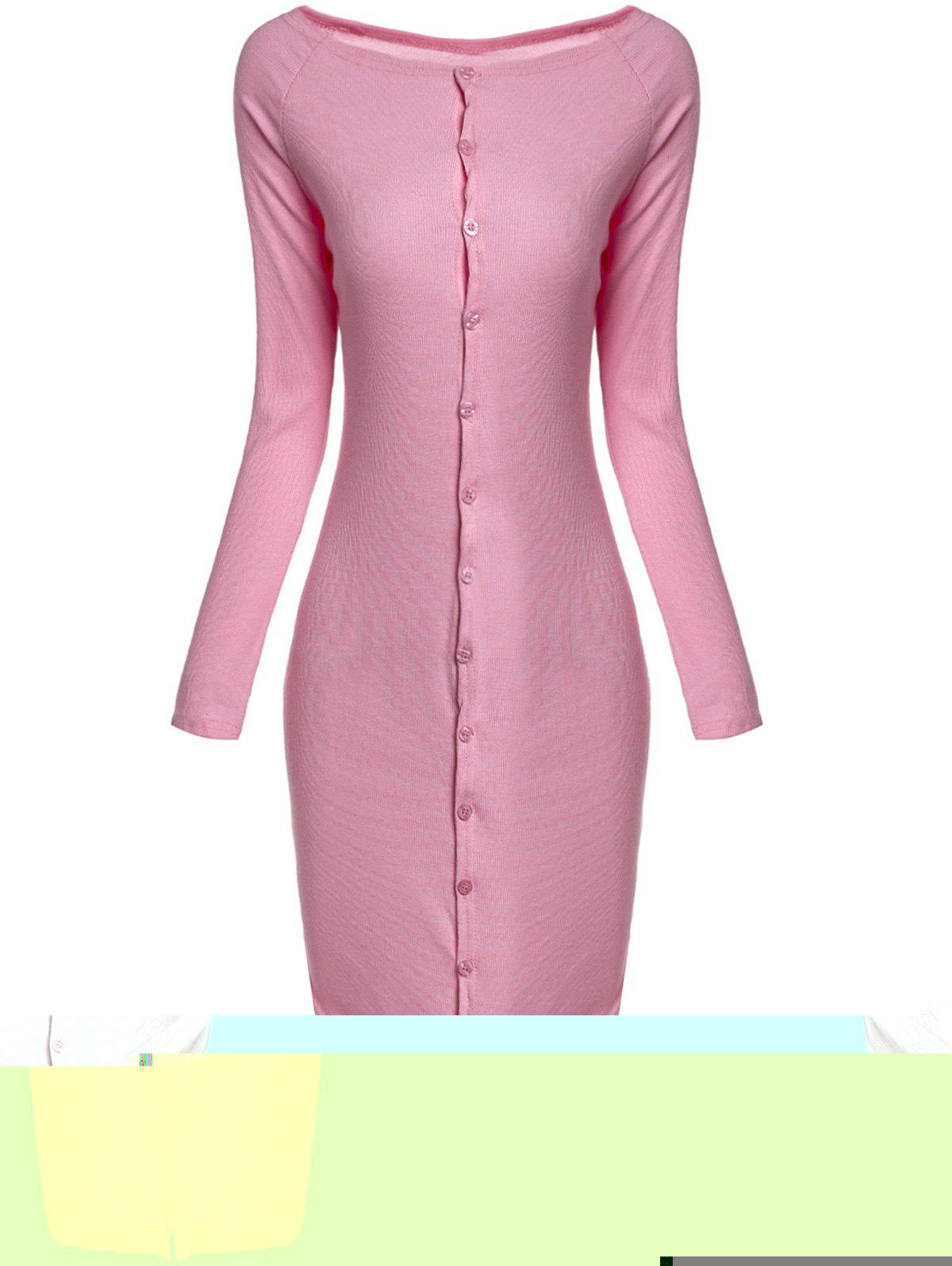 Trendy Long Sleeve Off-The-Shoulder Slimming Single-Breasted Pink Women's Dress - PINK L