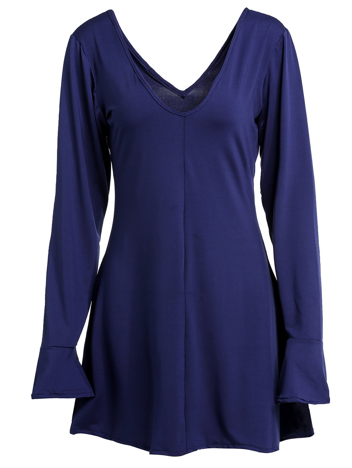 Sexy Deep Blue Plunging Neck Open Back Long Sleeve Dress For Women
