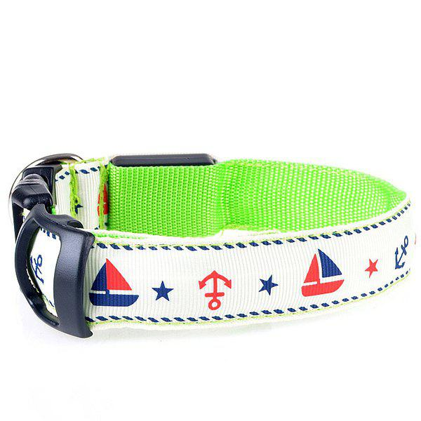 Stylish LED Luminous Star Sailing Boat Pattern Night Walk Collar For Dogs - CELADON XL