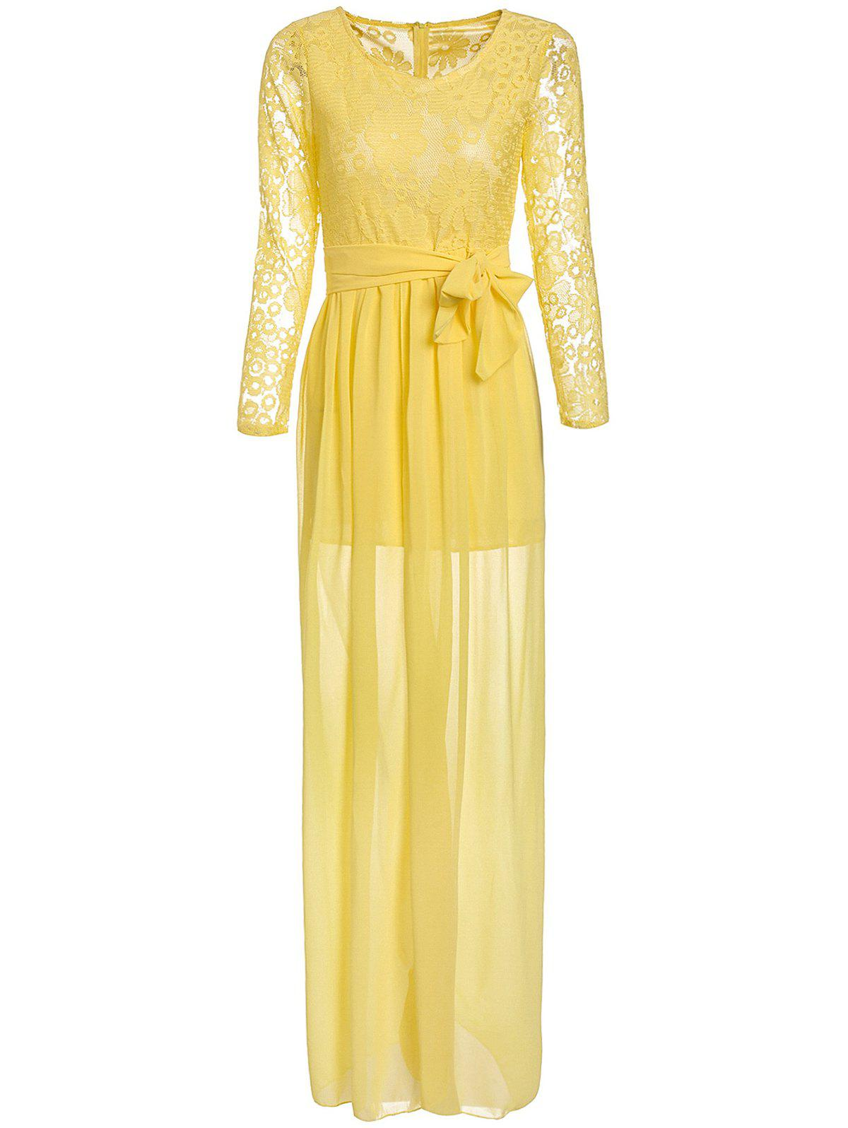 Robe sexy col rond manches longues à lacets Spliced ​​Furcal femmes - Jaune L