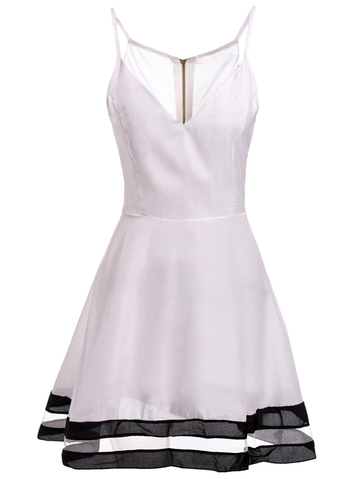 Sexy Spaghetti Strap Spliced Low Cut Women's Dress - WHITE S