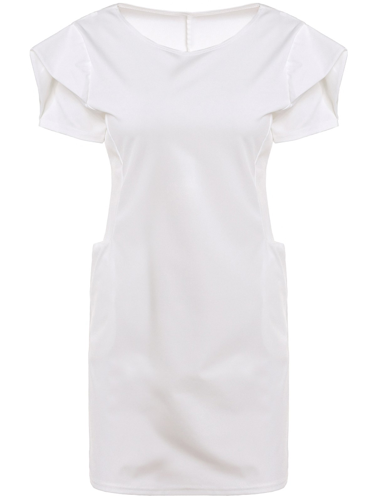 Chic Round Neck Short Sleeve Pocket Design Pure Color Women's Dress