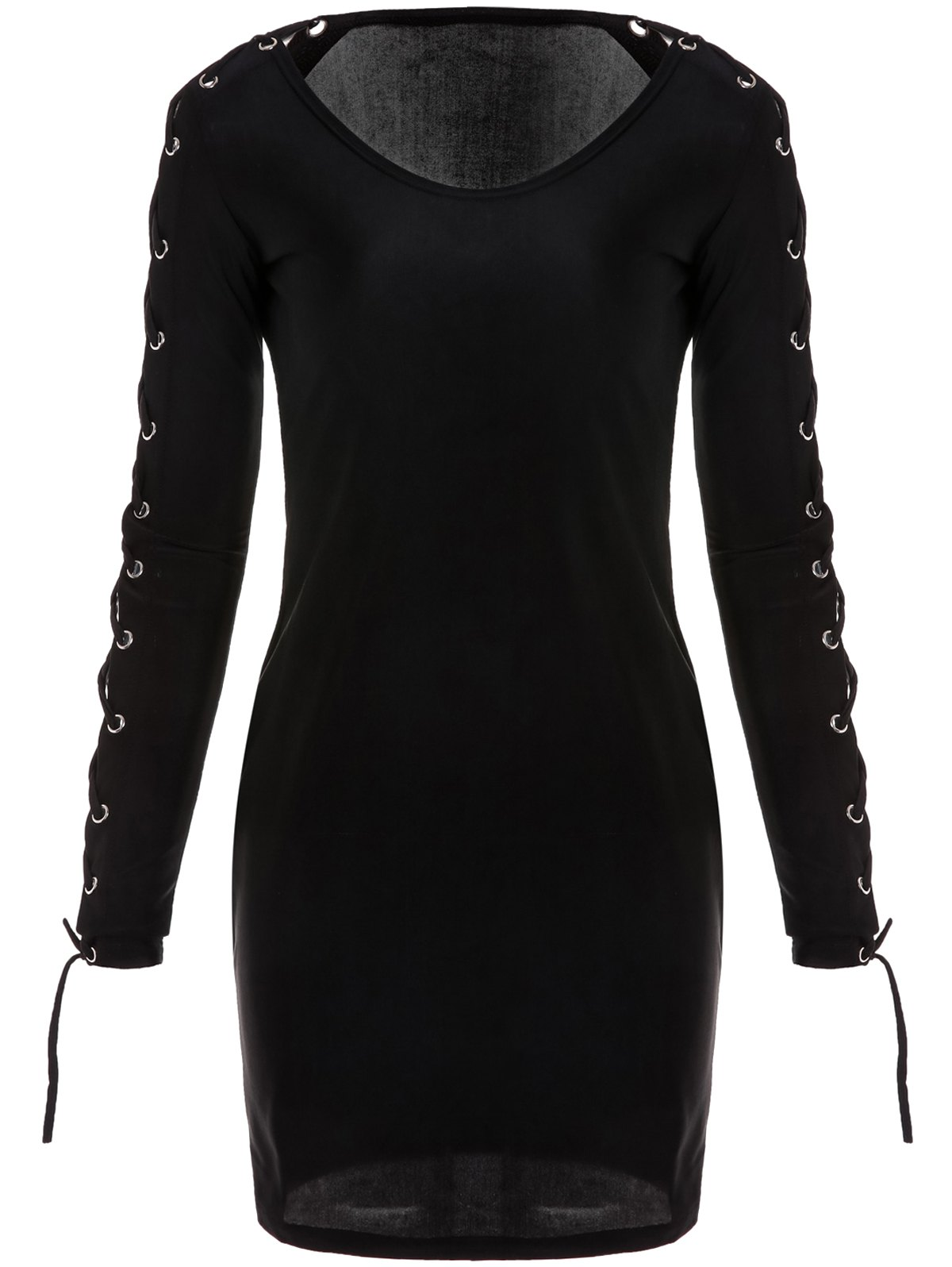 Sexy Plunging Collar Long Sleeve Bodycon Hollow Out Women's Dress - BLACK M