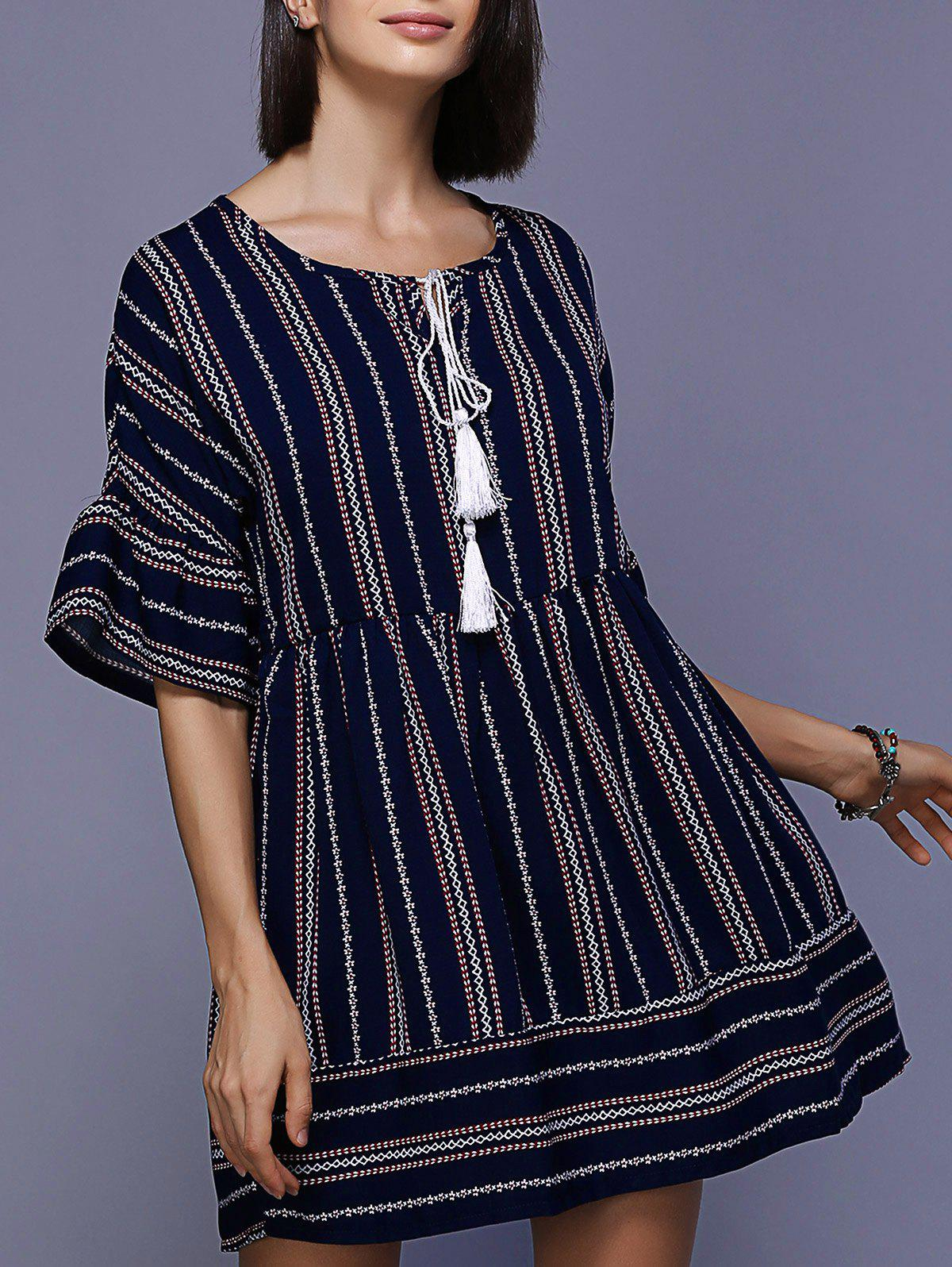 Stylish Tie-Front  Bell Sleeve Loose Mini Ethnic Print Dress For Women - PURPLISH BLUE XL