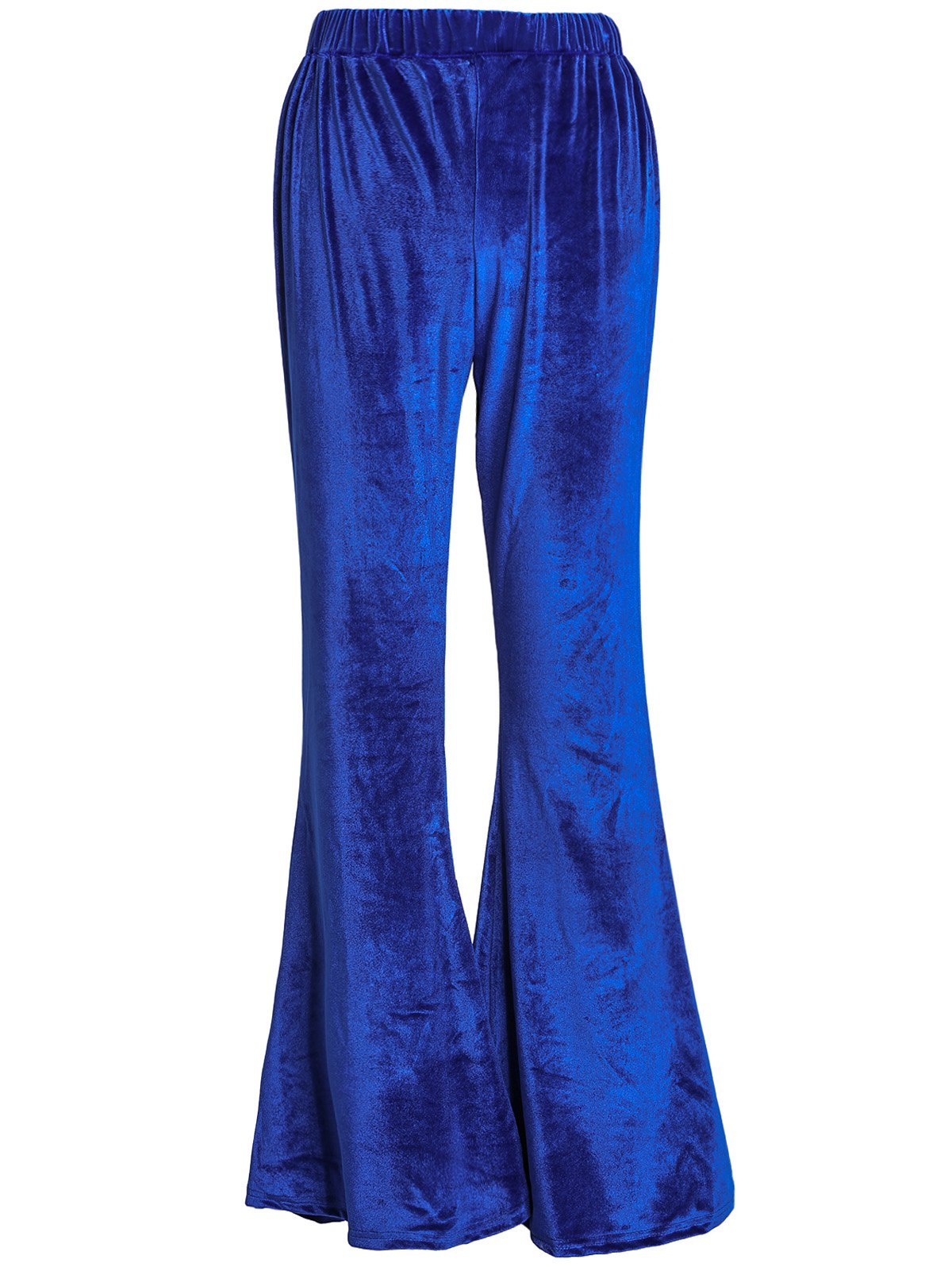 Stylish High-Waisted Boot Cut Solid Color Women's Velvet Pants - BLUE XL