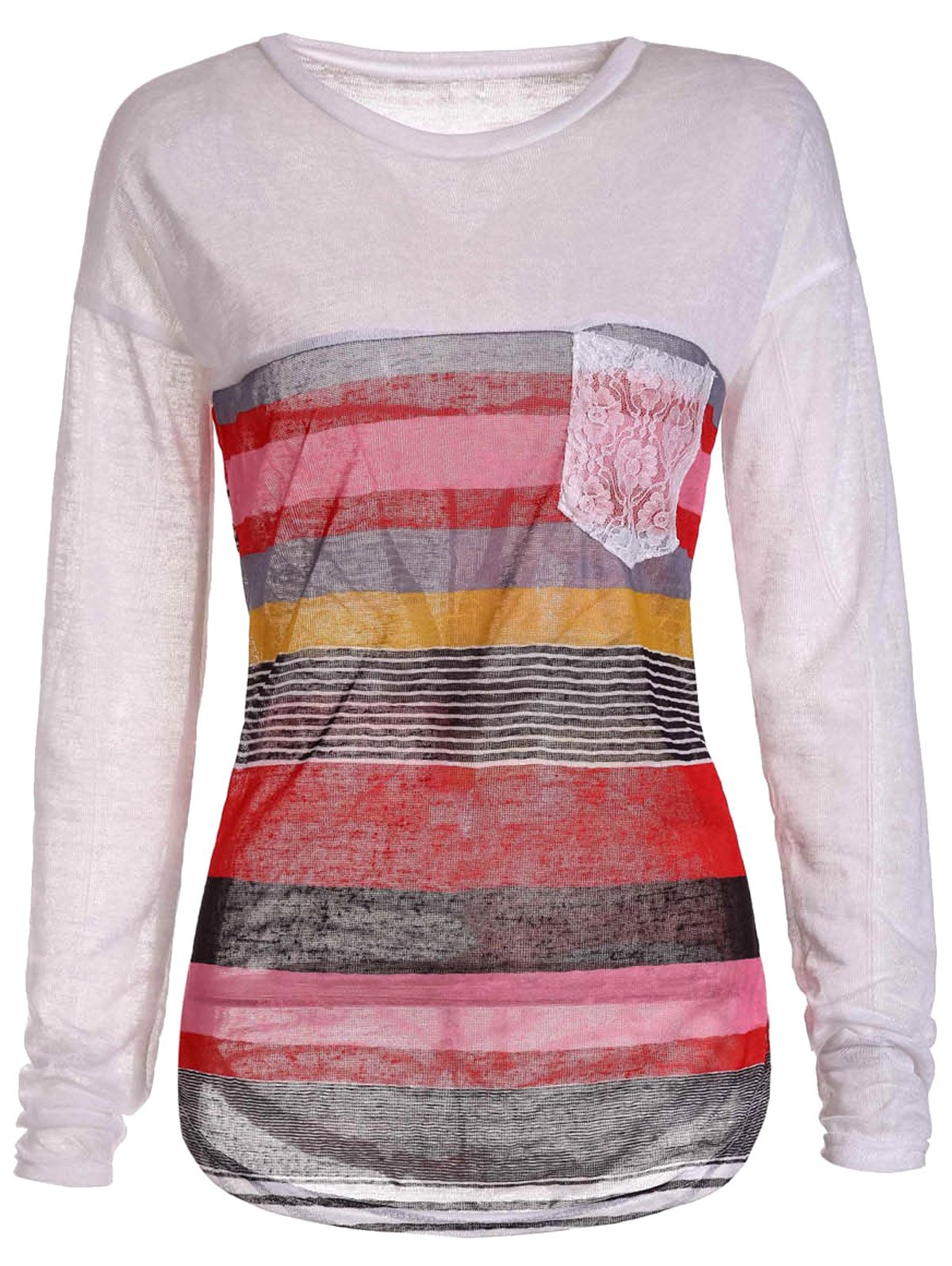 Chic Jewel Neck Long Sleeve Colorful Striped Irregular T-Shirt For Women - ORANGE M