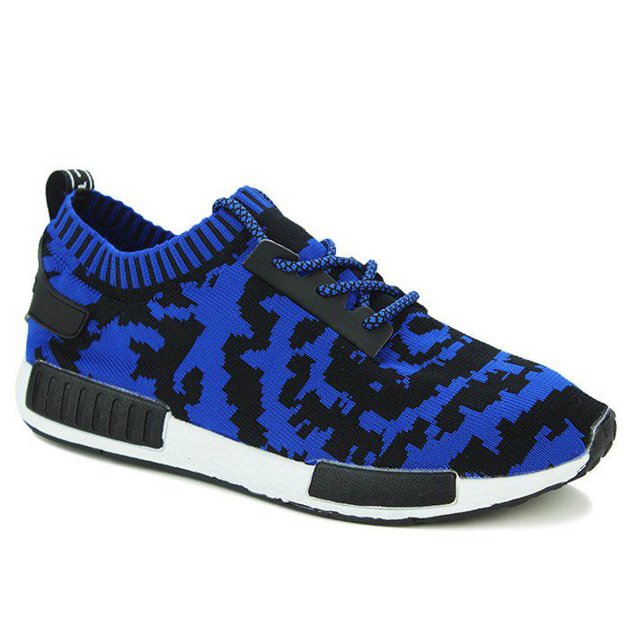 Fashionable Color Splicing and Lace-Up Design Men's Athletic Shoes - BLUE/BLACK 44